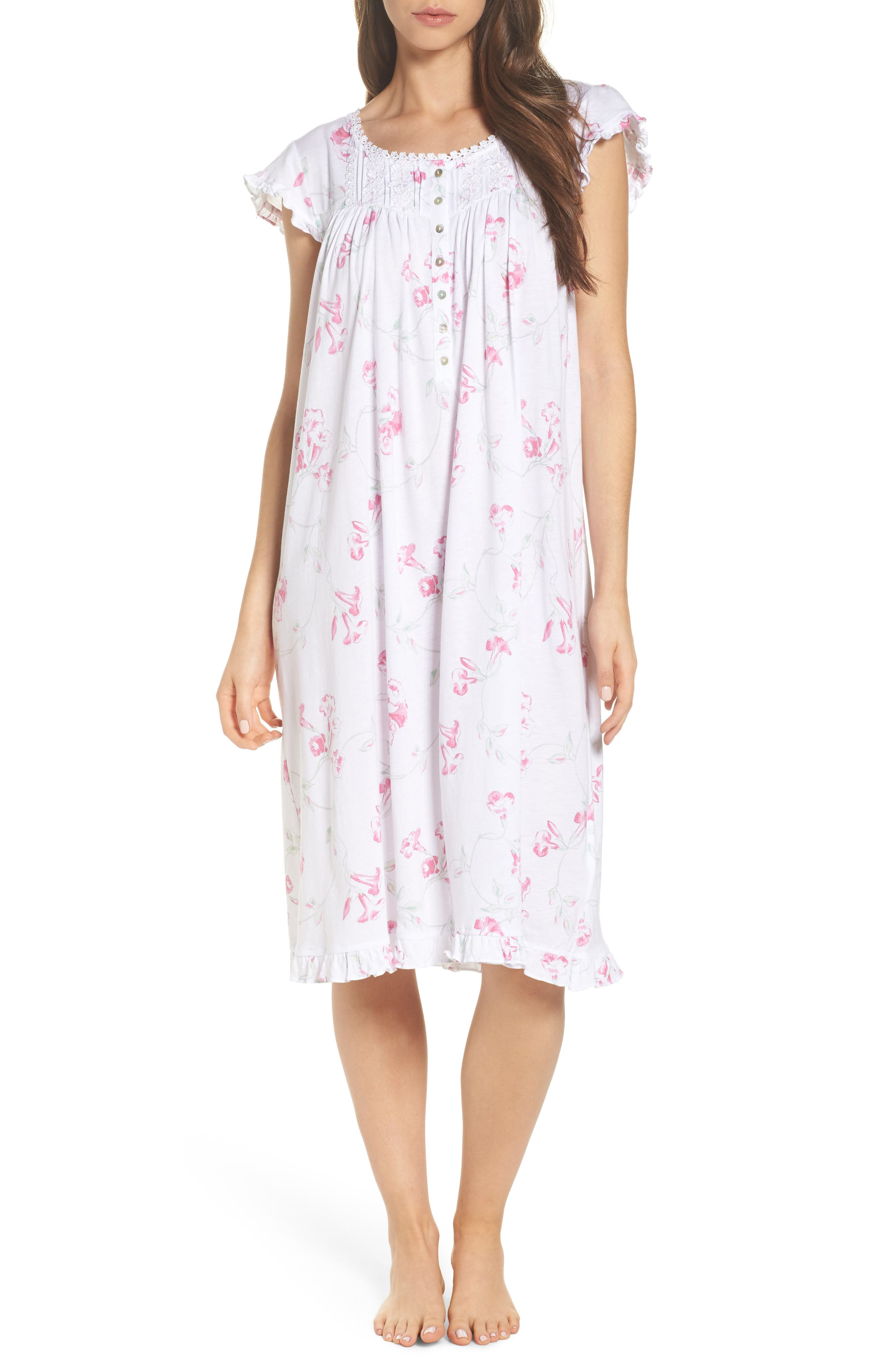 Floral Print Nightgown,                             Main thumbnail 1, color,                             White Floral Scroll