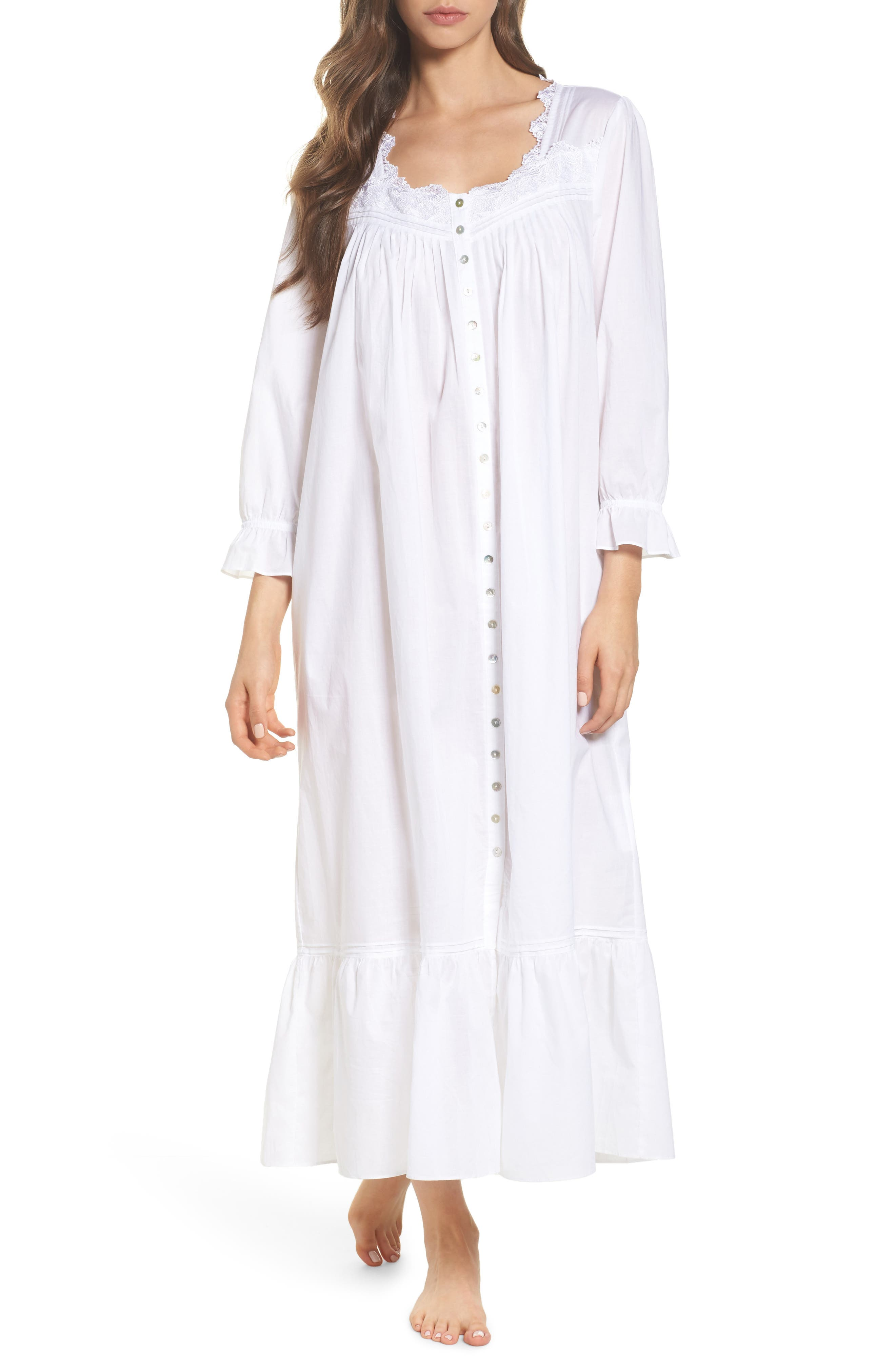 Button Front Cotton Nightgown,                         Main,                         color, Solid White