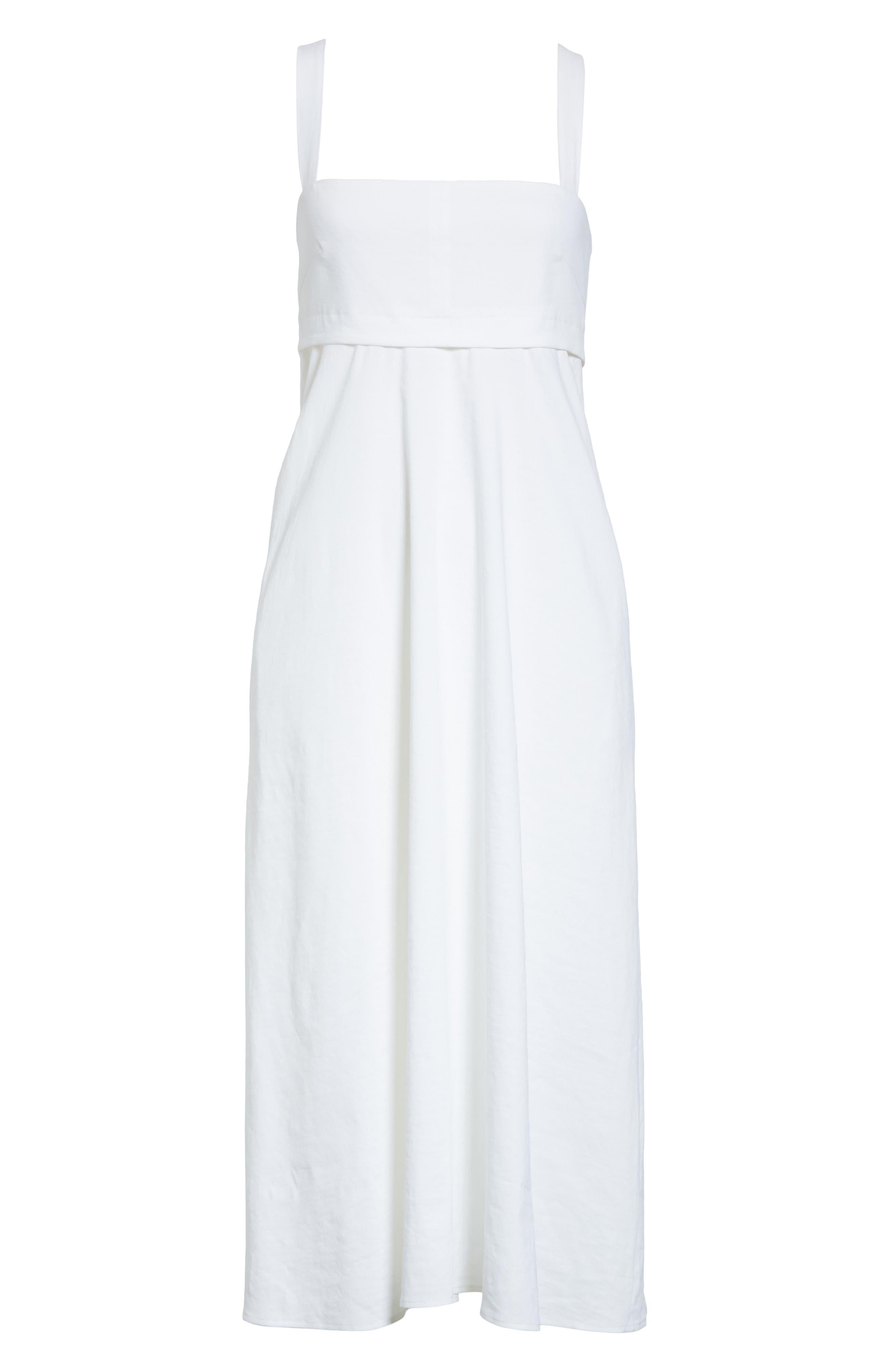 Empire Waist Midi Dress,                             Alternate thumbnail 6, color,                             White
