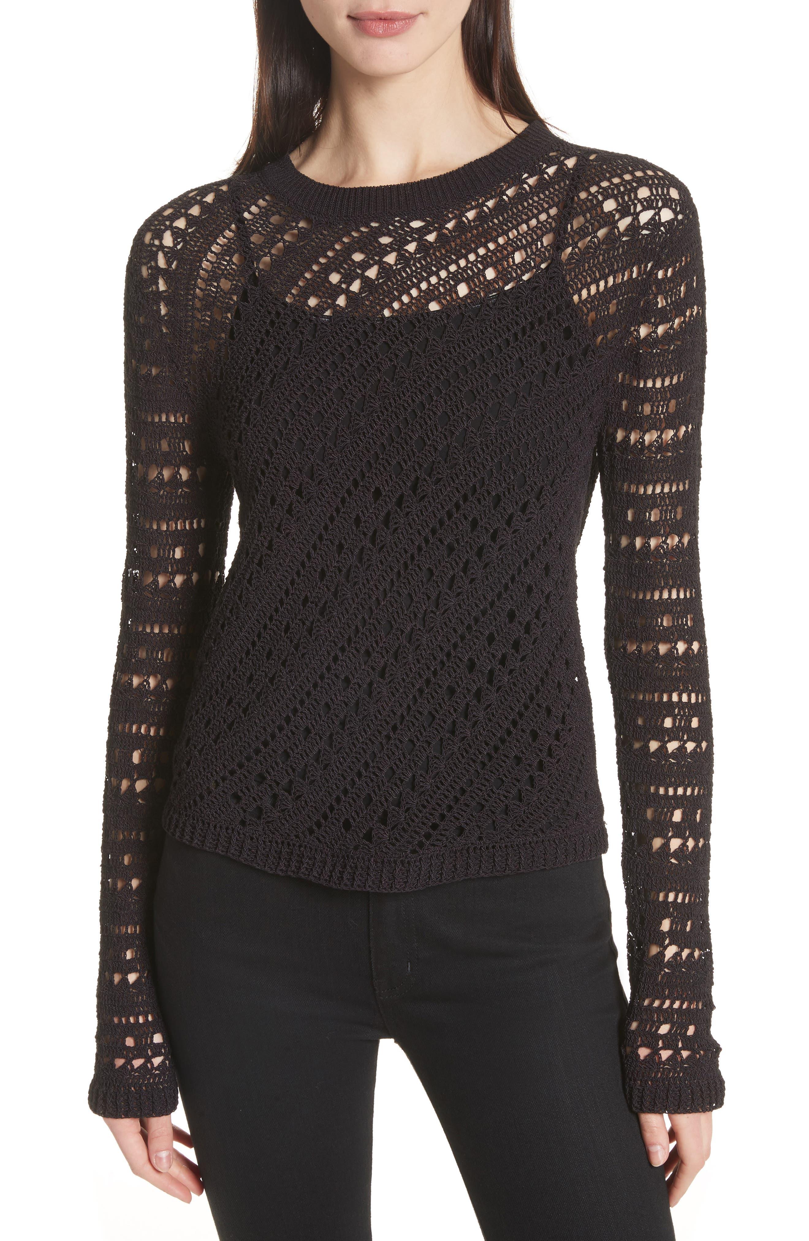 Theory Crewneck Crochet Sweater