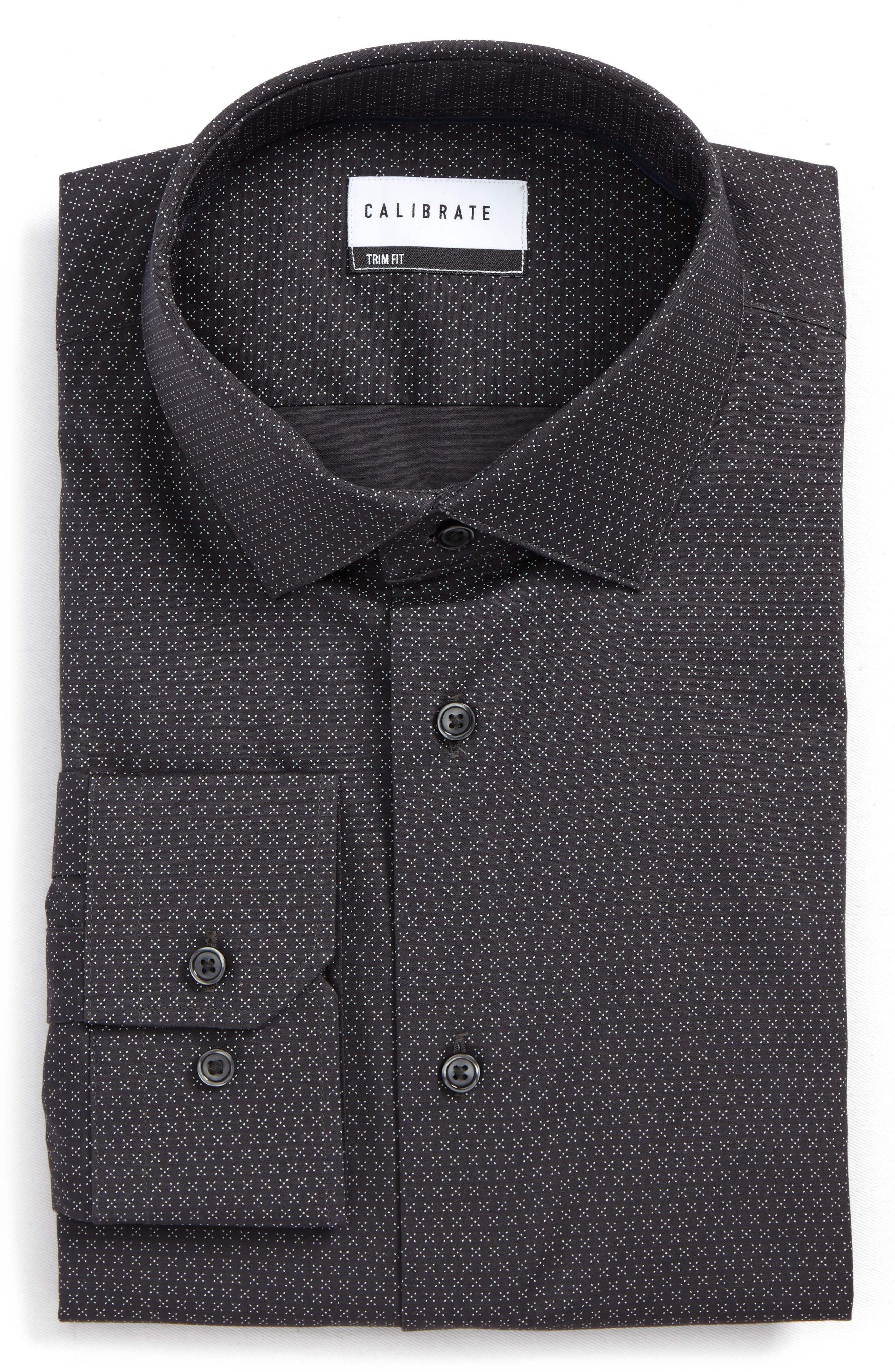 Trim Fit Stretch Print Dress Shirt,                             Main thumbnail 1, color,                             Grey Asphalt