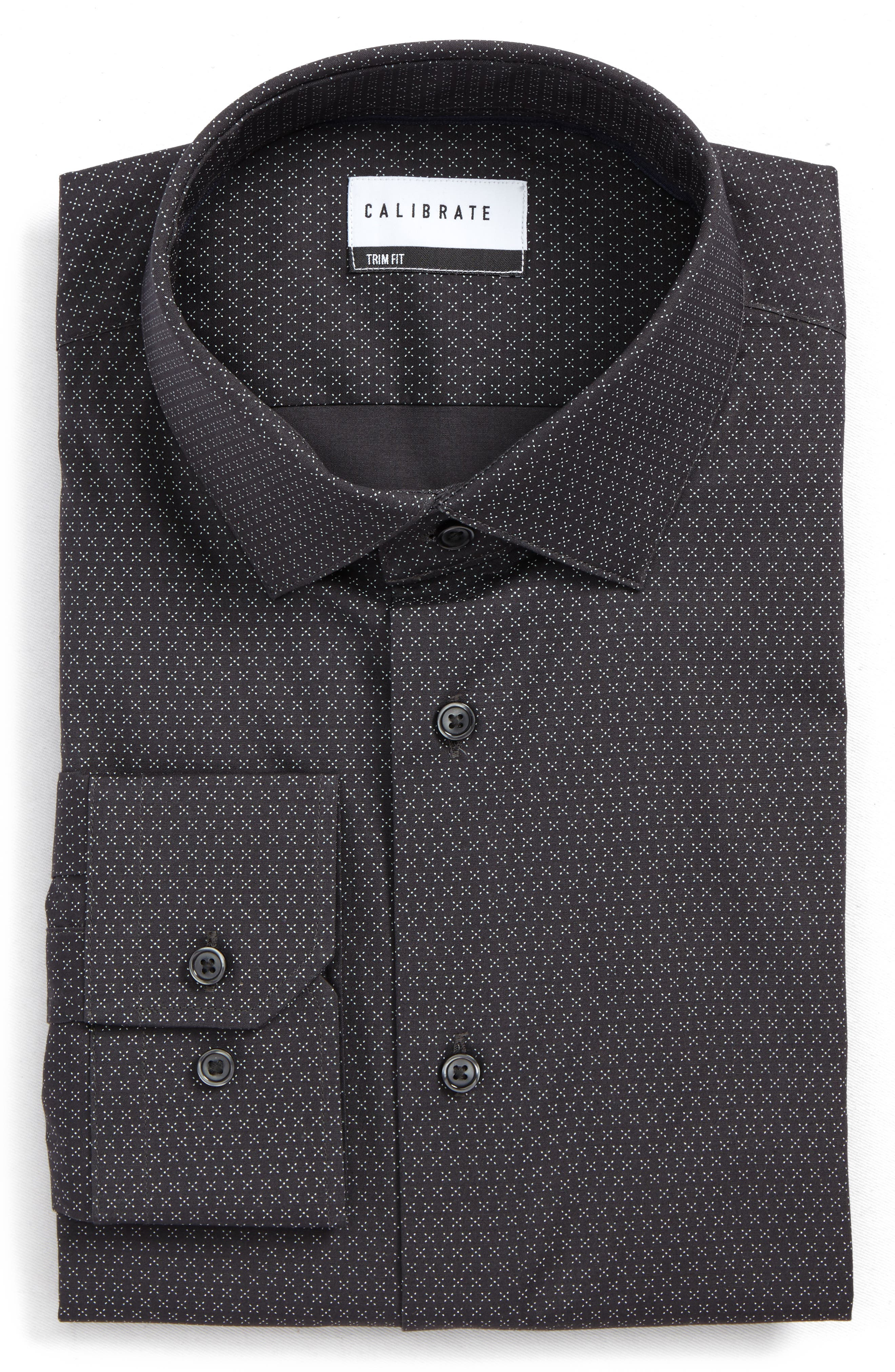 Trim Fit Stretch Print Dress Shirt,                         Main,                         color, Grey Asphalt