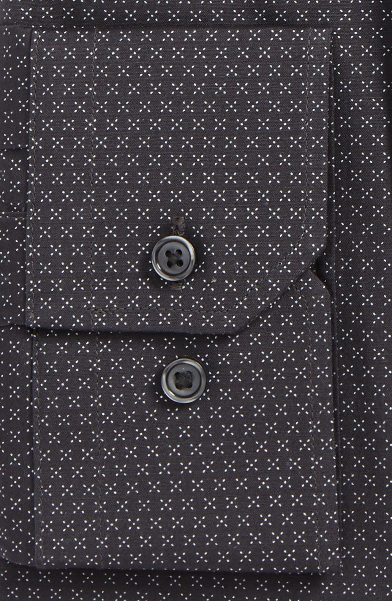 Trim Fit Stretch Print Dress Shirt,                             Alternate thumbnail 2, color,                             Grey Asphalt