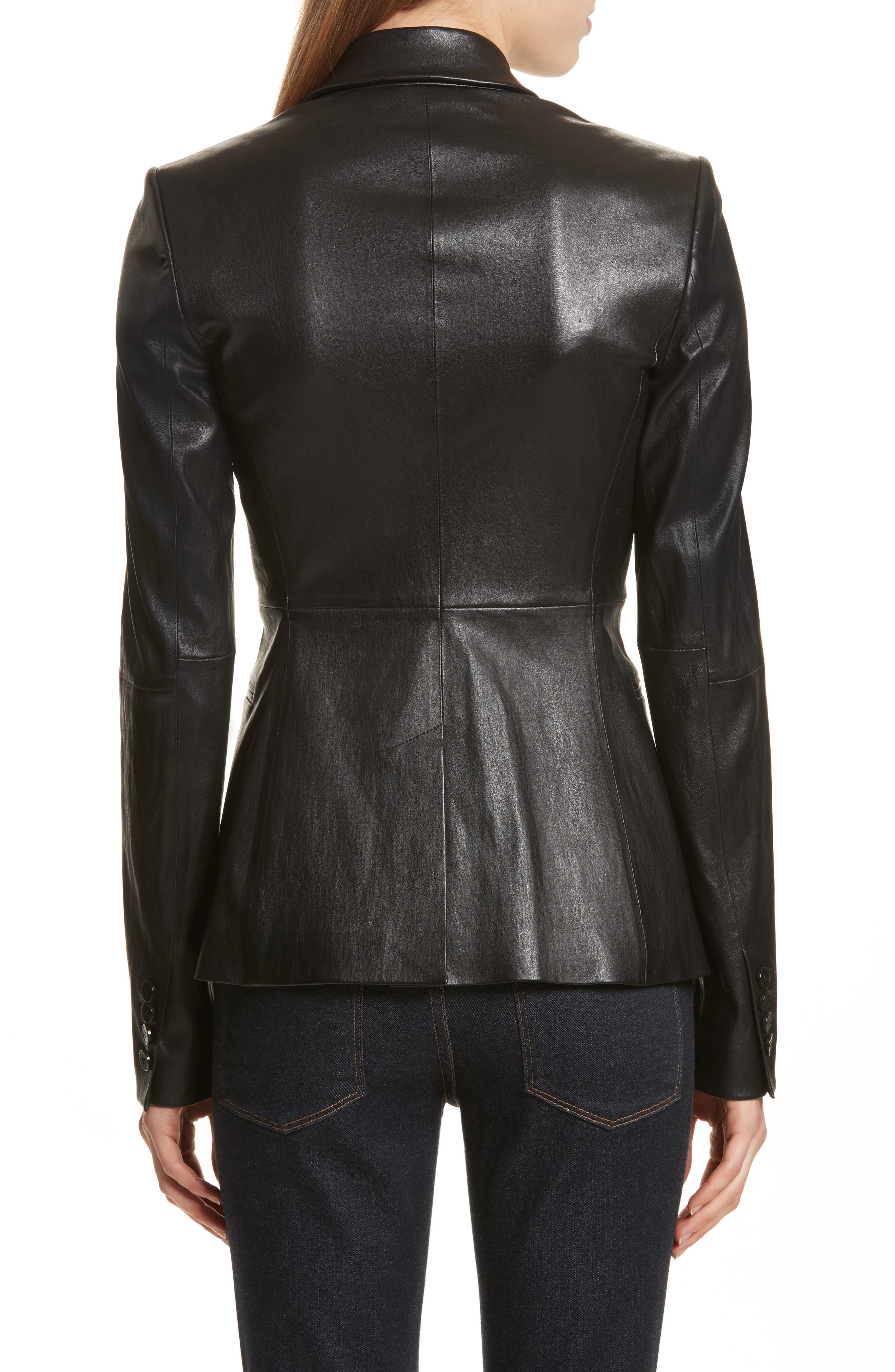 Bristol Leather Blazer,                             Alternate thumbnail 2, color,                             Black