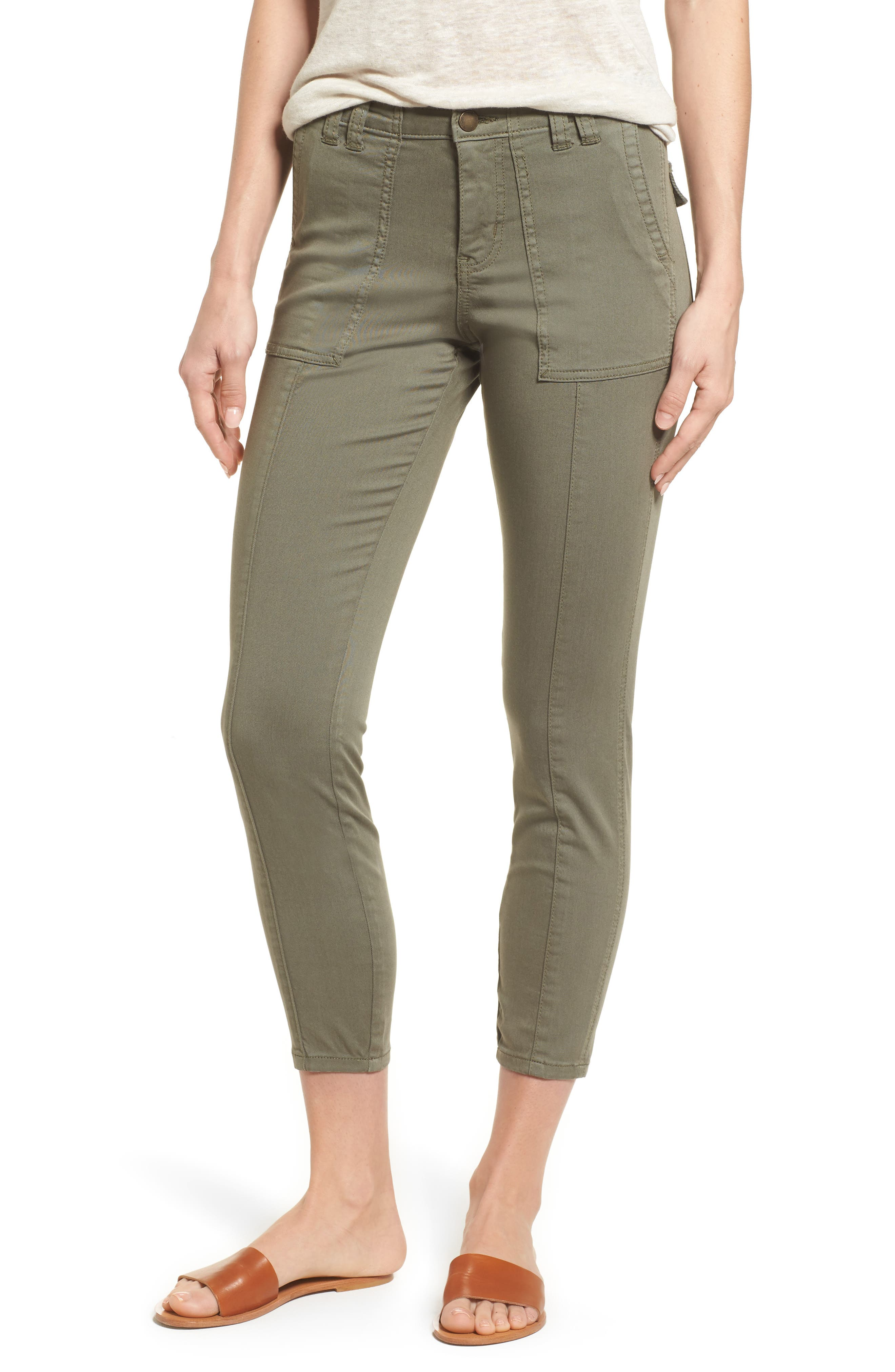 Crop Utility Pants,                         Main,                         color, Olive