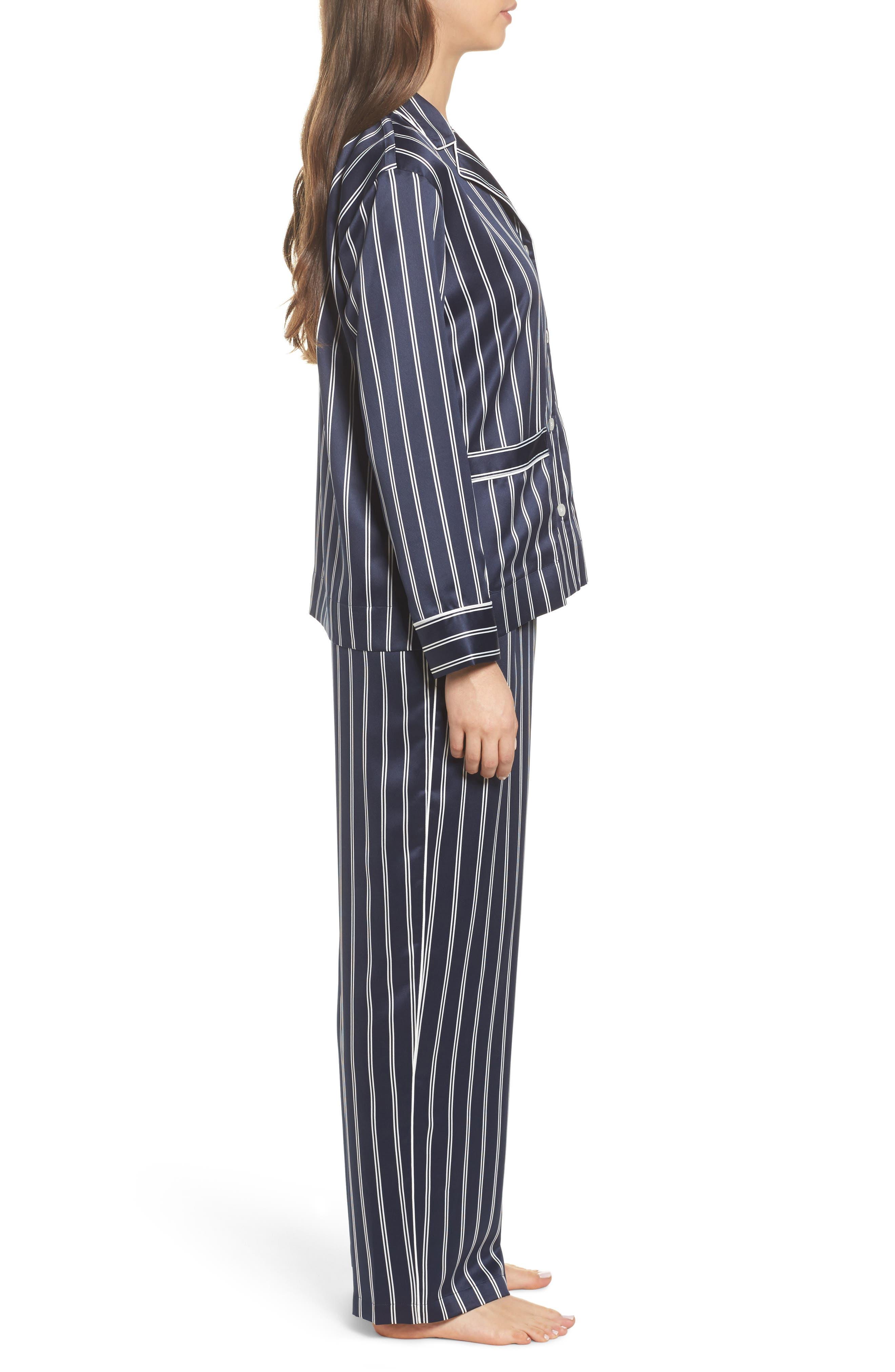 Satin Pajamas,                             Alternate thumbnail 3, color,                             Navy Stripe