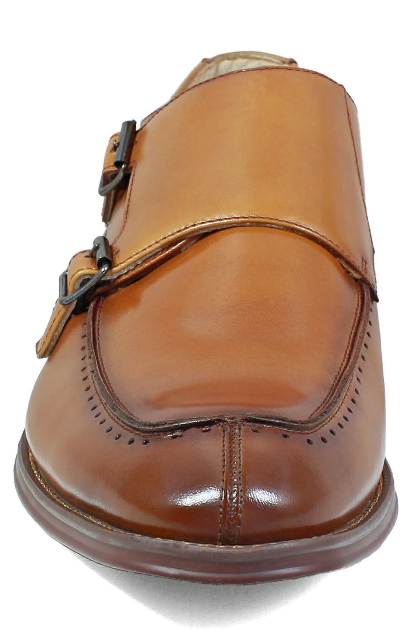 Baldwin Double Monk Strap Slip-On,                             Alternate thumbnail 4, color,                             Tan Leather