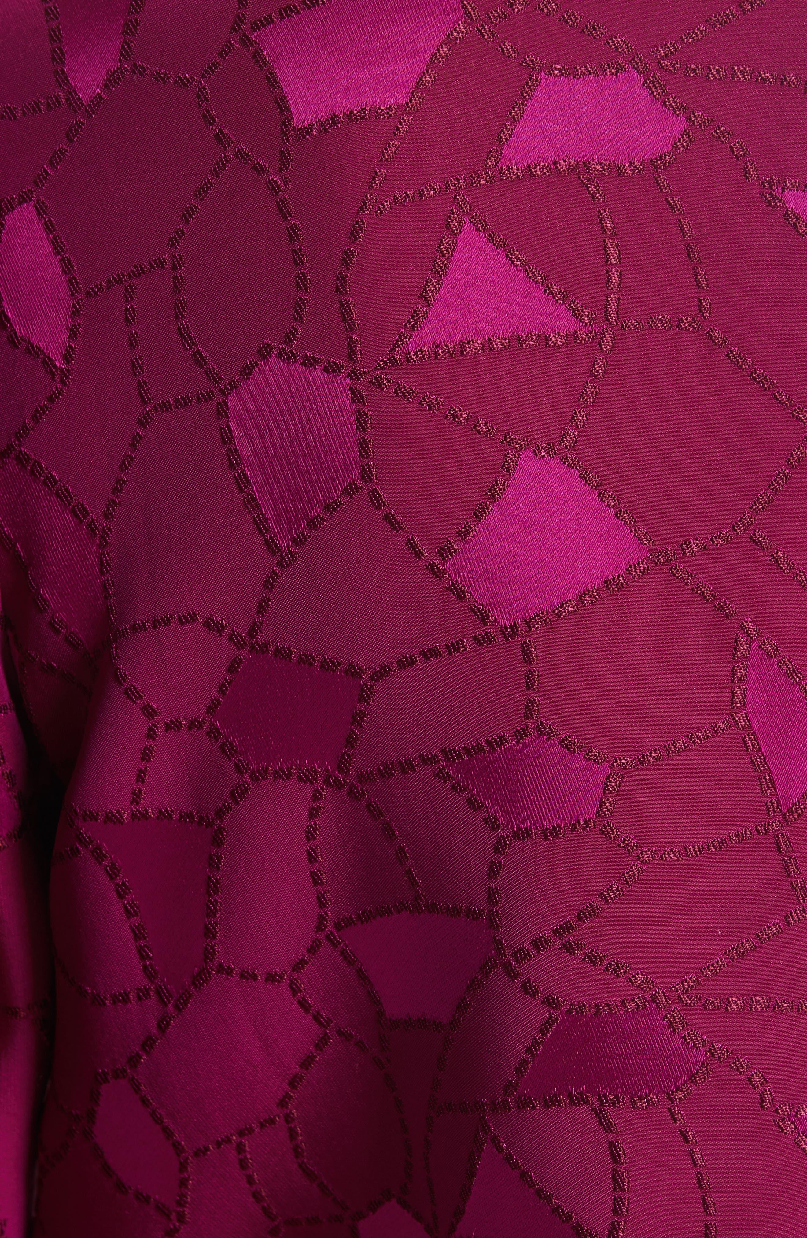 Mosaic Jacquard Puff Sleeve Blouse,                             Alternate thumbnail 6, color,                             Pink