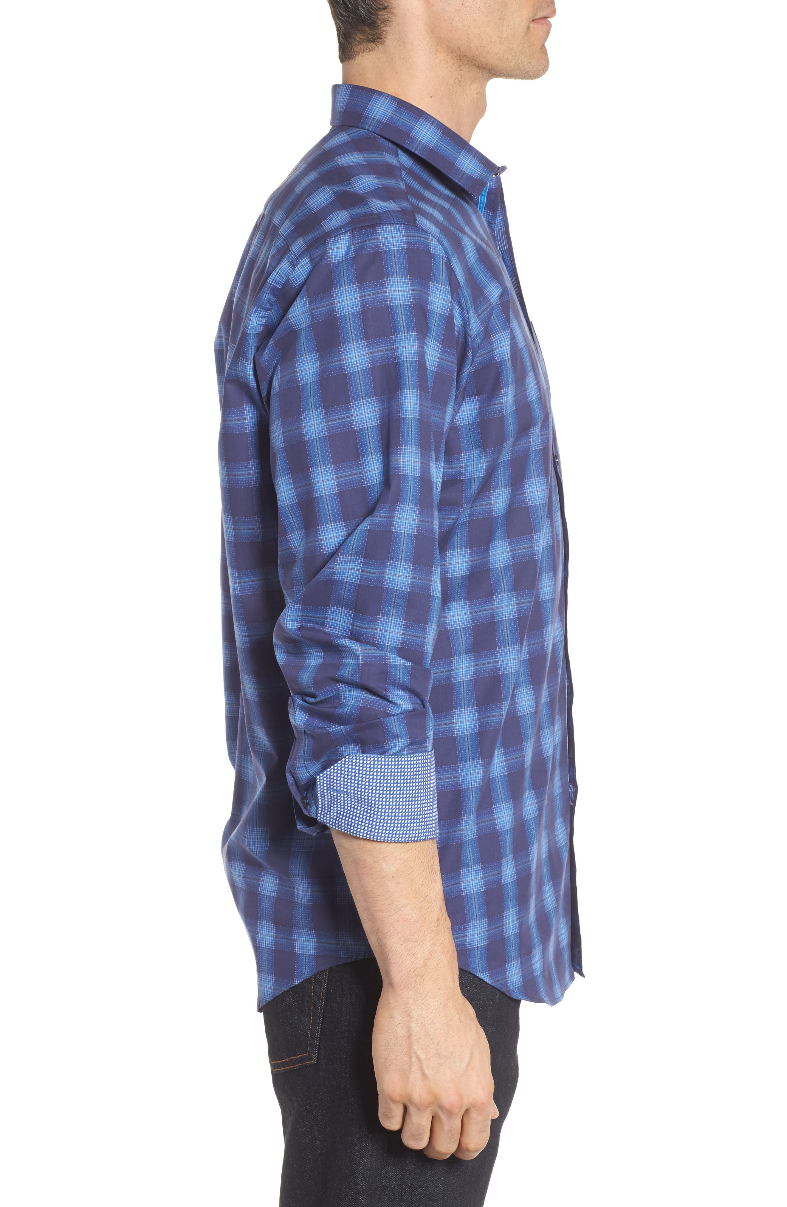 Classic Fit Plaid Sport Shirt,                             Alternate thumbnail 3, color,                             Night Blue