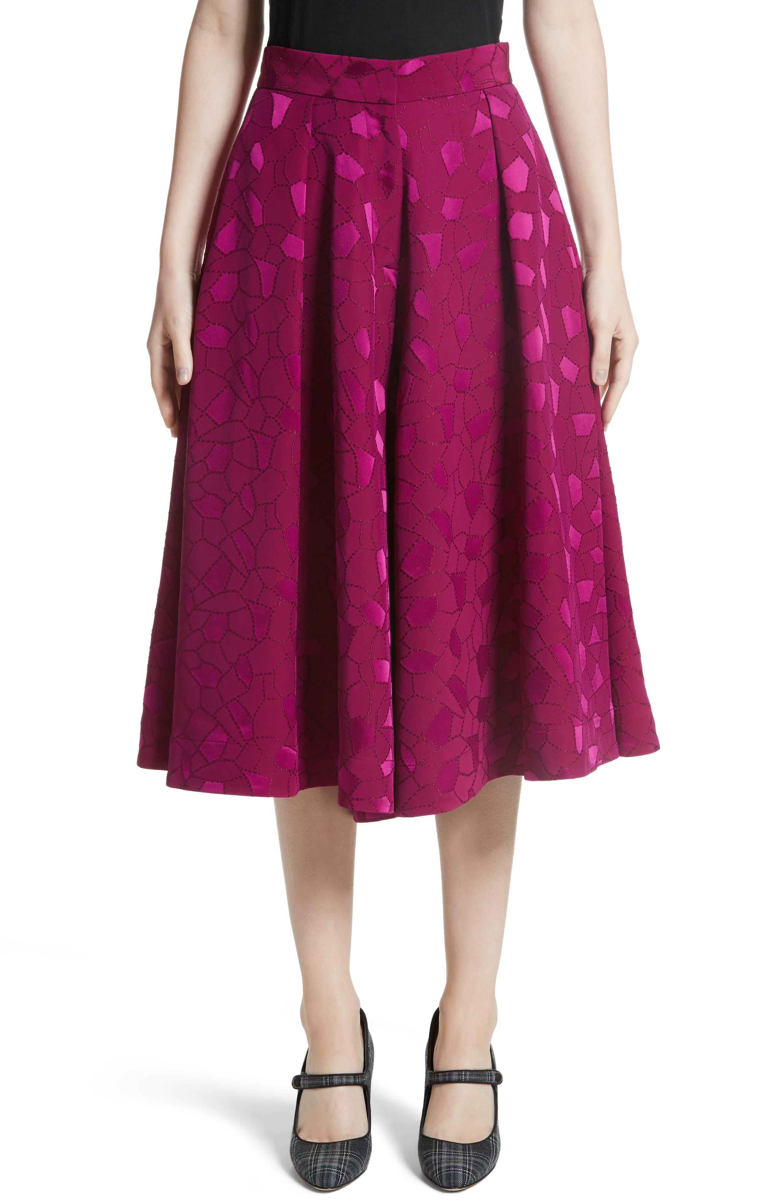 Mosaic Jacquard Midi Skirt,                         Main,                         color, Pink
