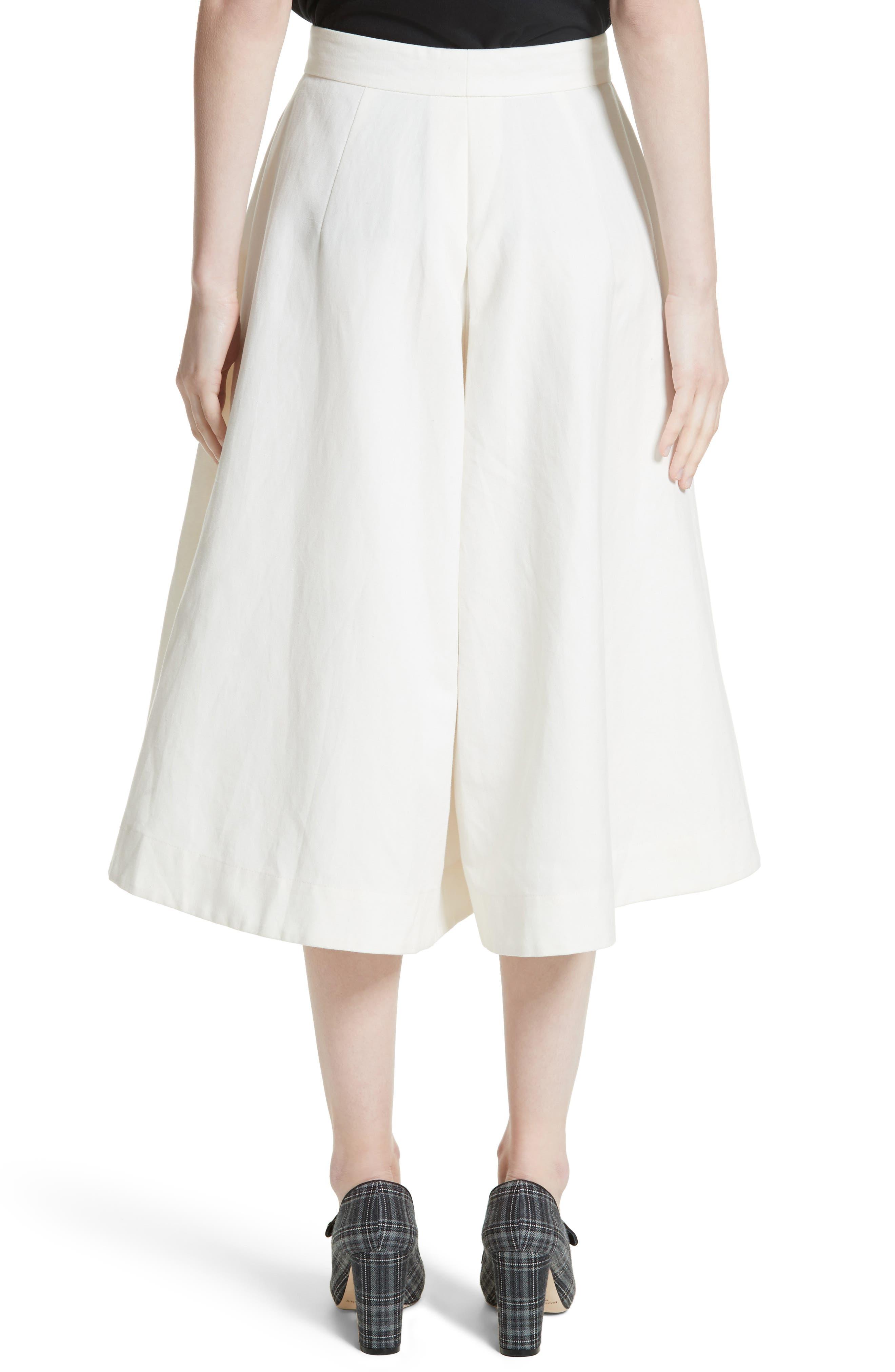 Linen & Cotton Crop Wide Leg Pants,                             Alternate thumbnail 3, color,                             Ivory