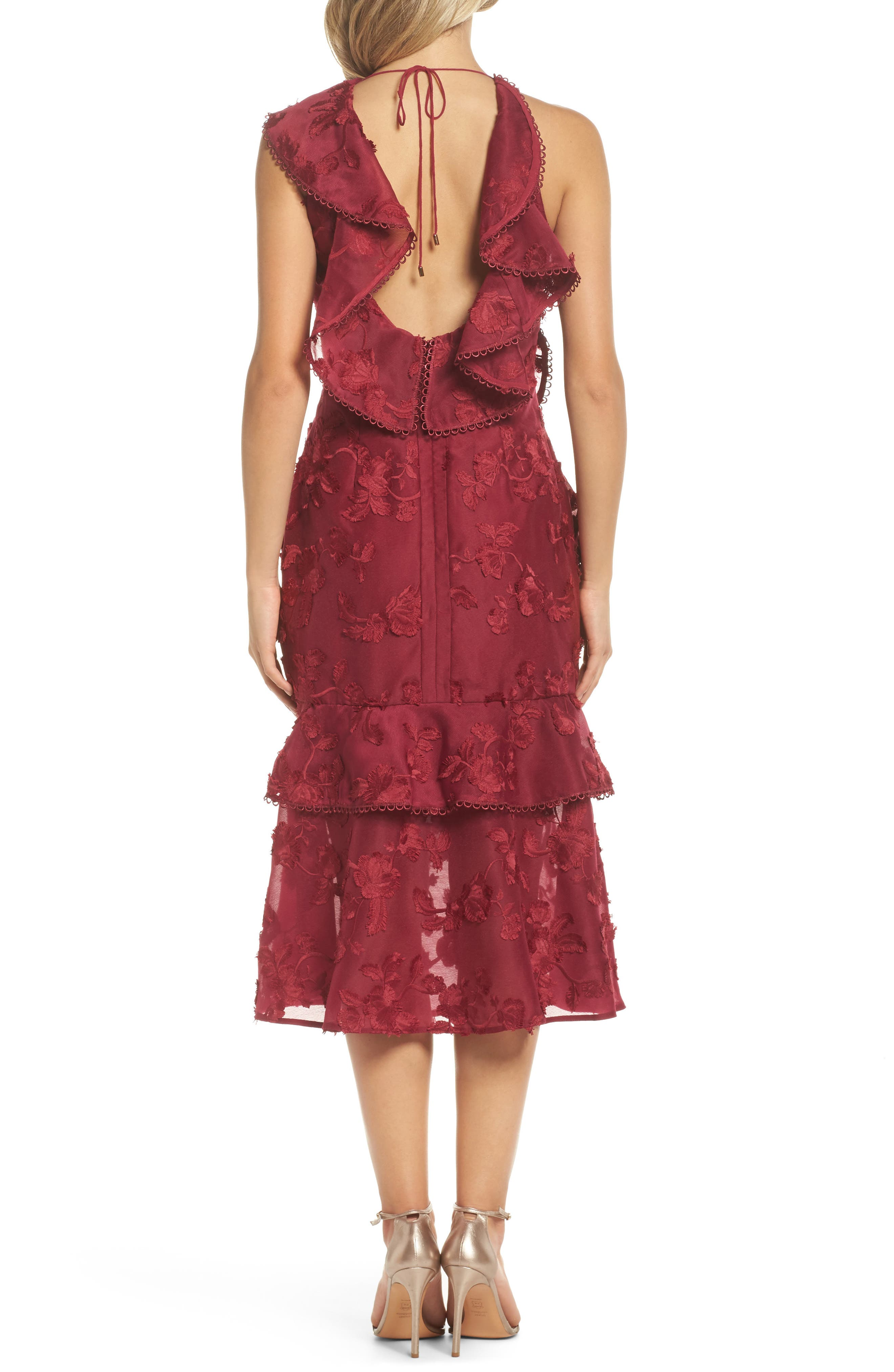 Shine Ruffle Lace Tea Length Dress,                             Alternate thumbnail 2, color,                             Raspberry