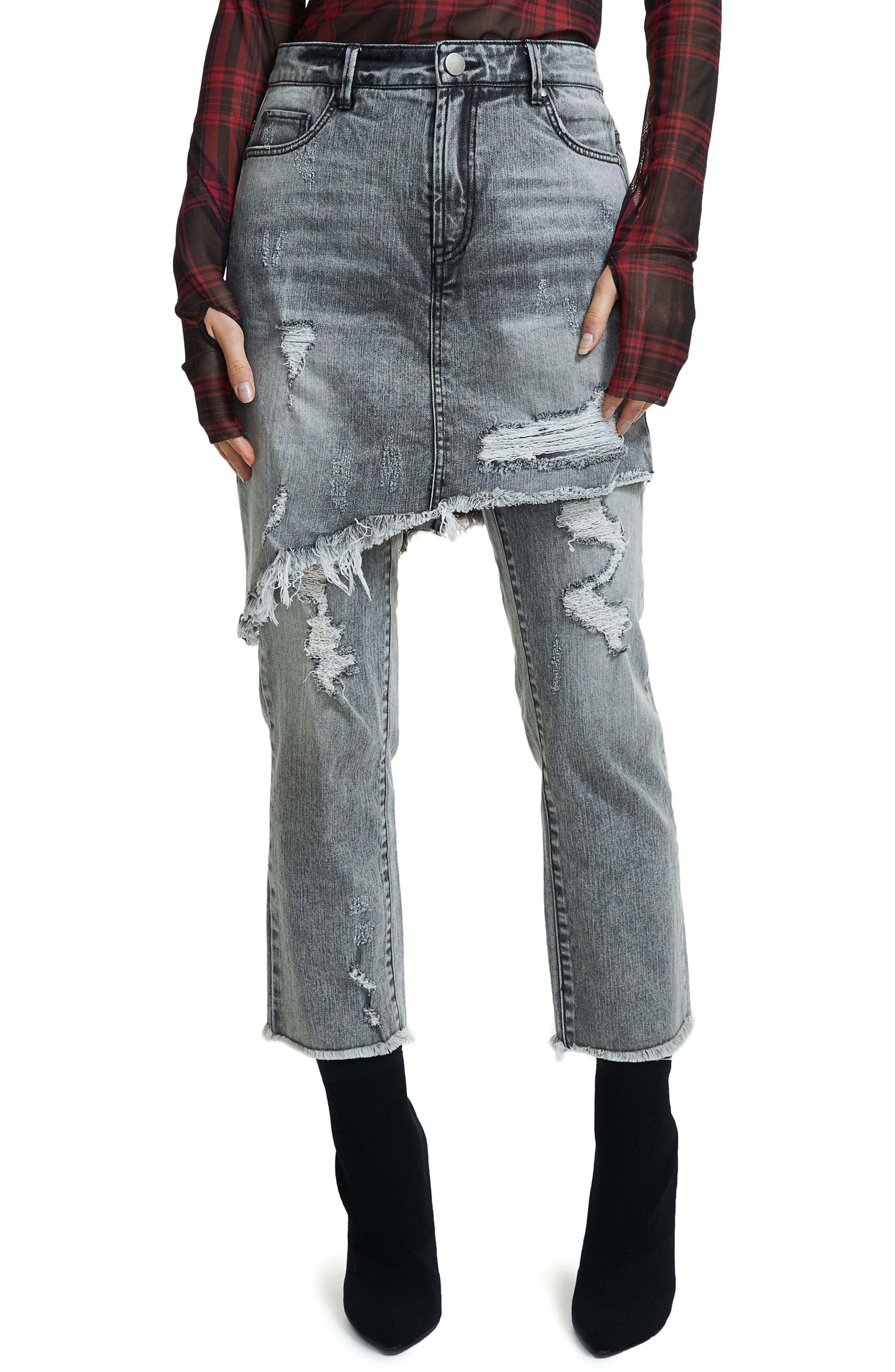 Maxon Ripped Skirted Crop Jeans,                             Main thumbnail 1, color,                             Leyton Wash