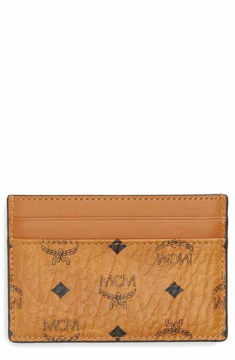 Mens card cases wallets nordstrom mcm logo leather card case colourmoves Images