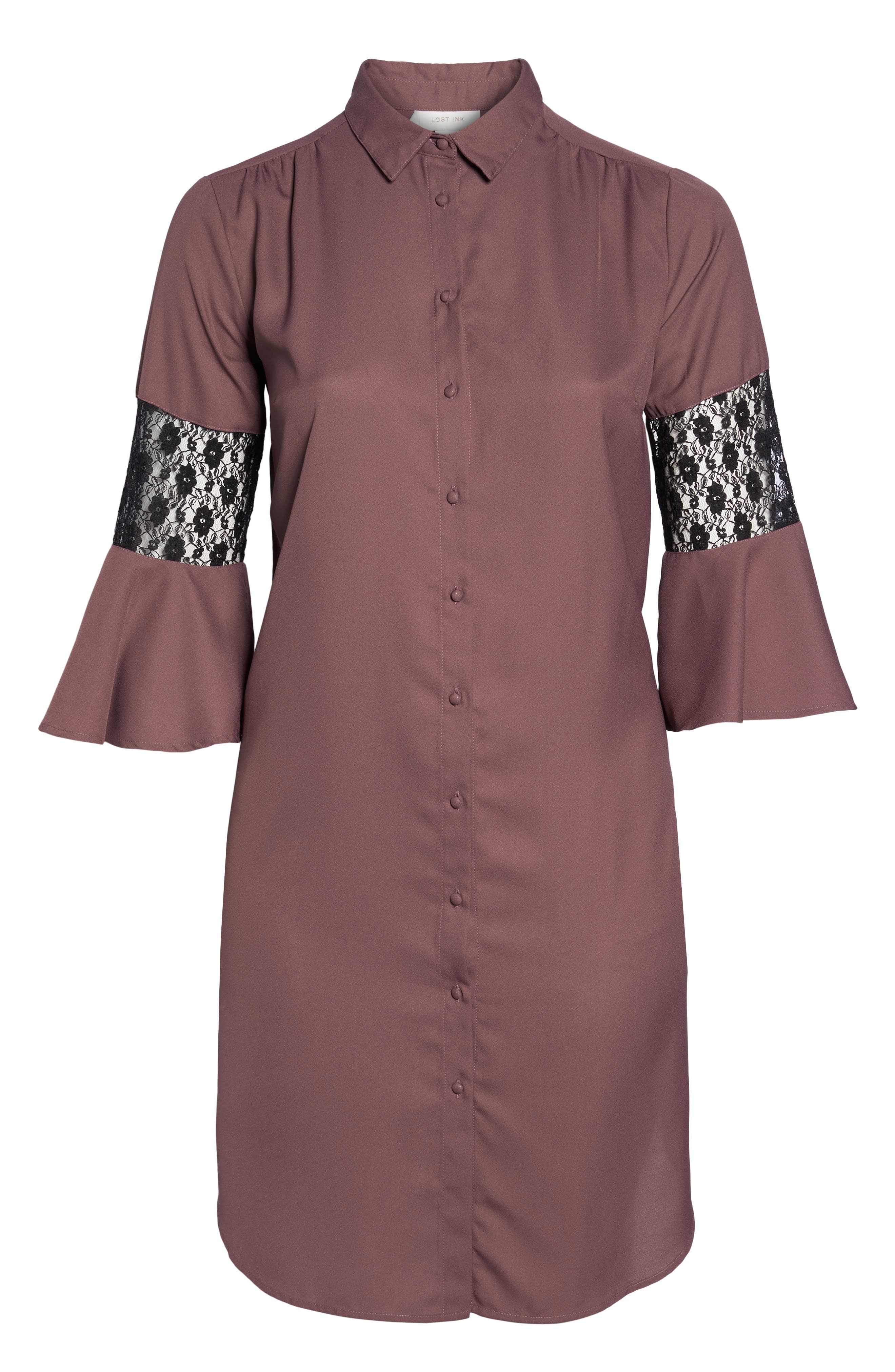 Alternate Image 6  - LOST INK Lace Inset Shirtdress (Plus Size)