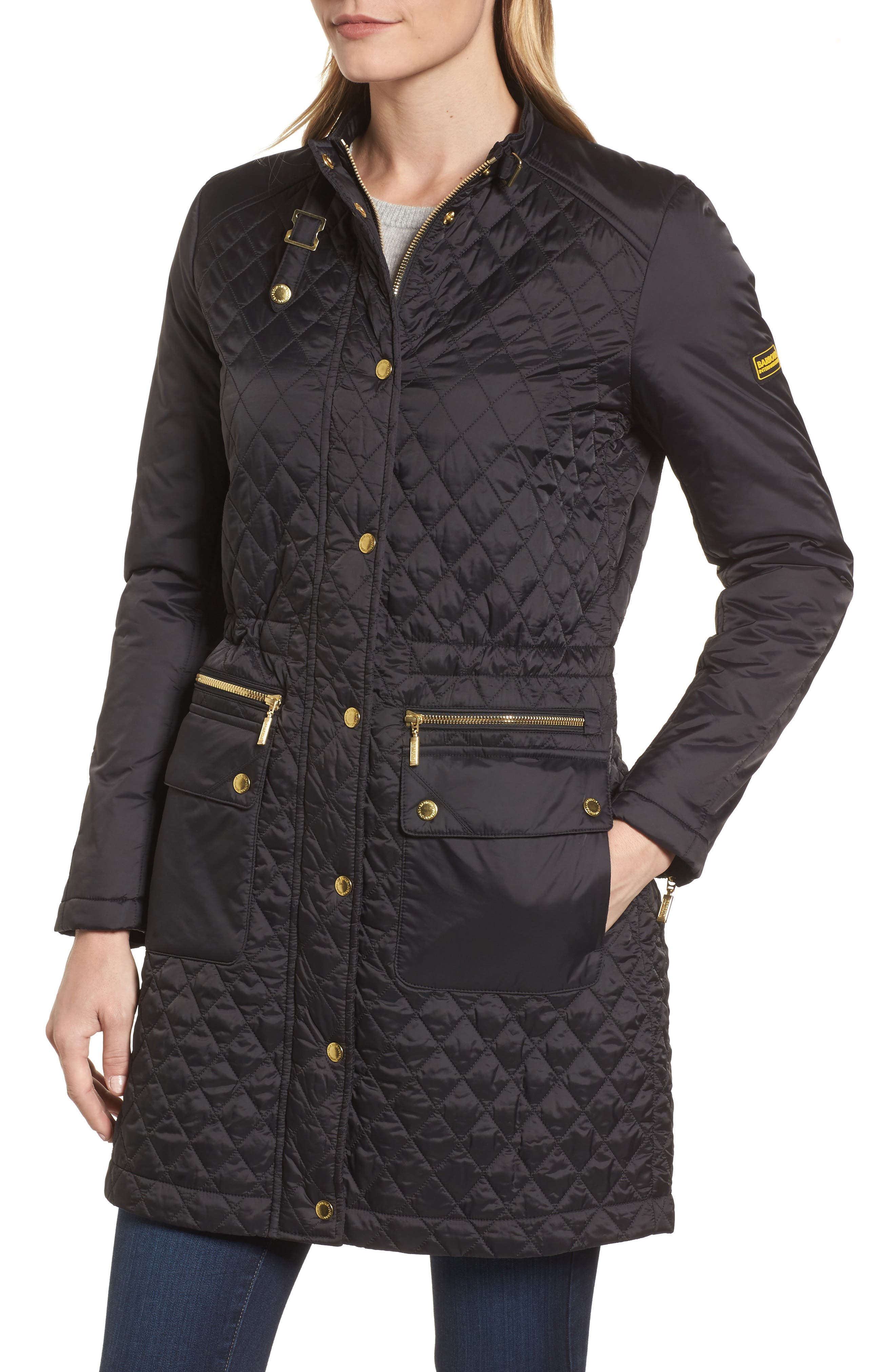 Quilted Jacket,                             Alternate thumbnail 4, color,                             Black