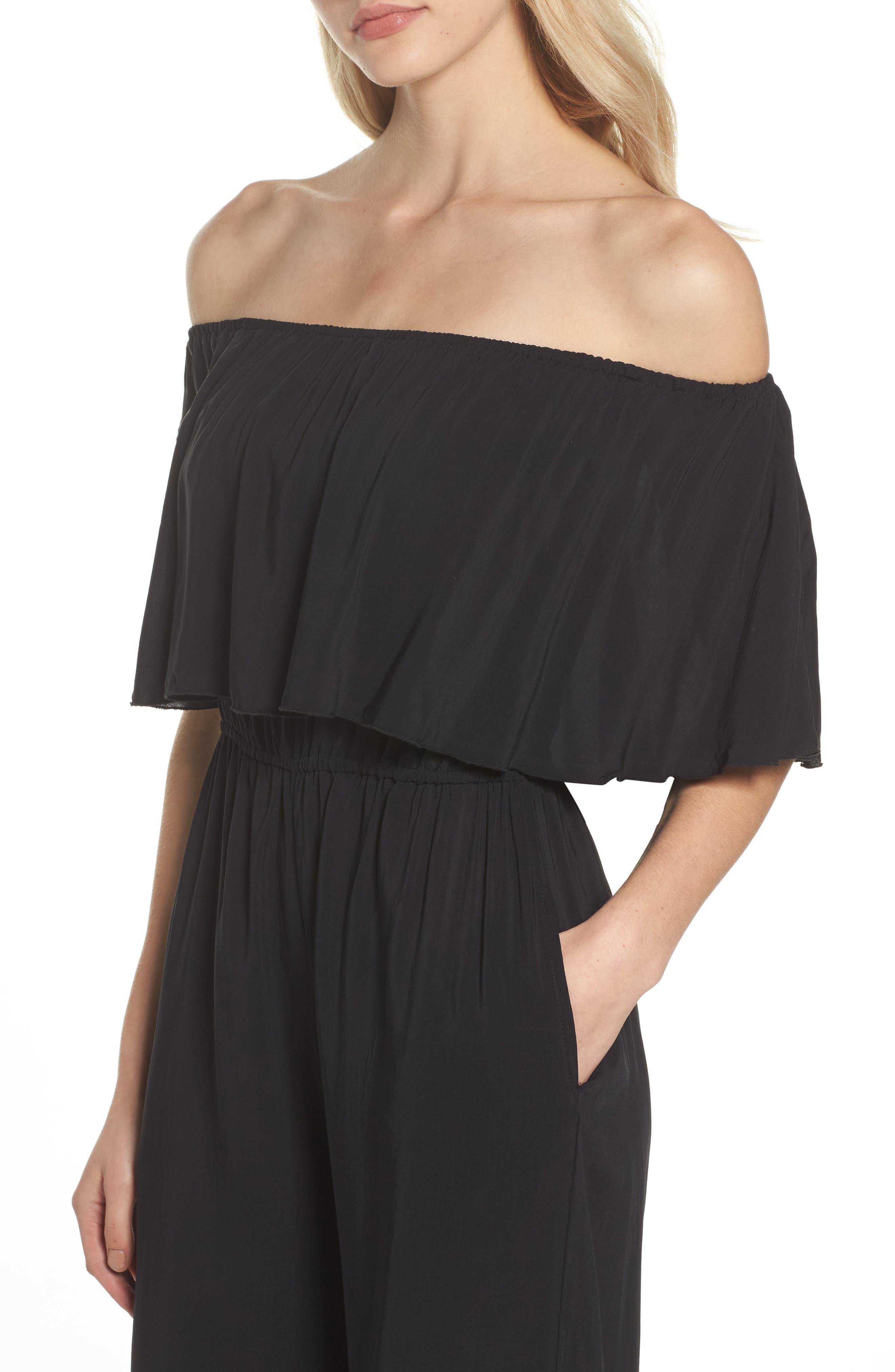 Alternate Image 4  - Elan Off the Shoulder Cover-Up Jumpsuit