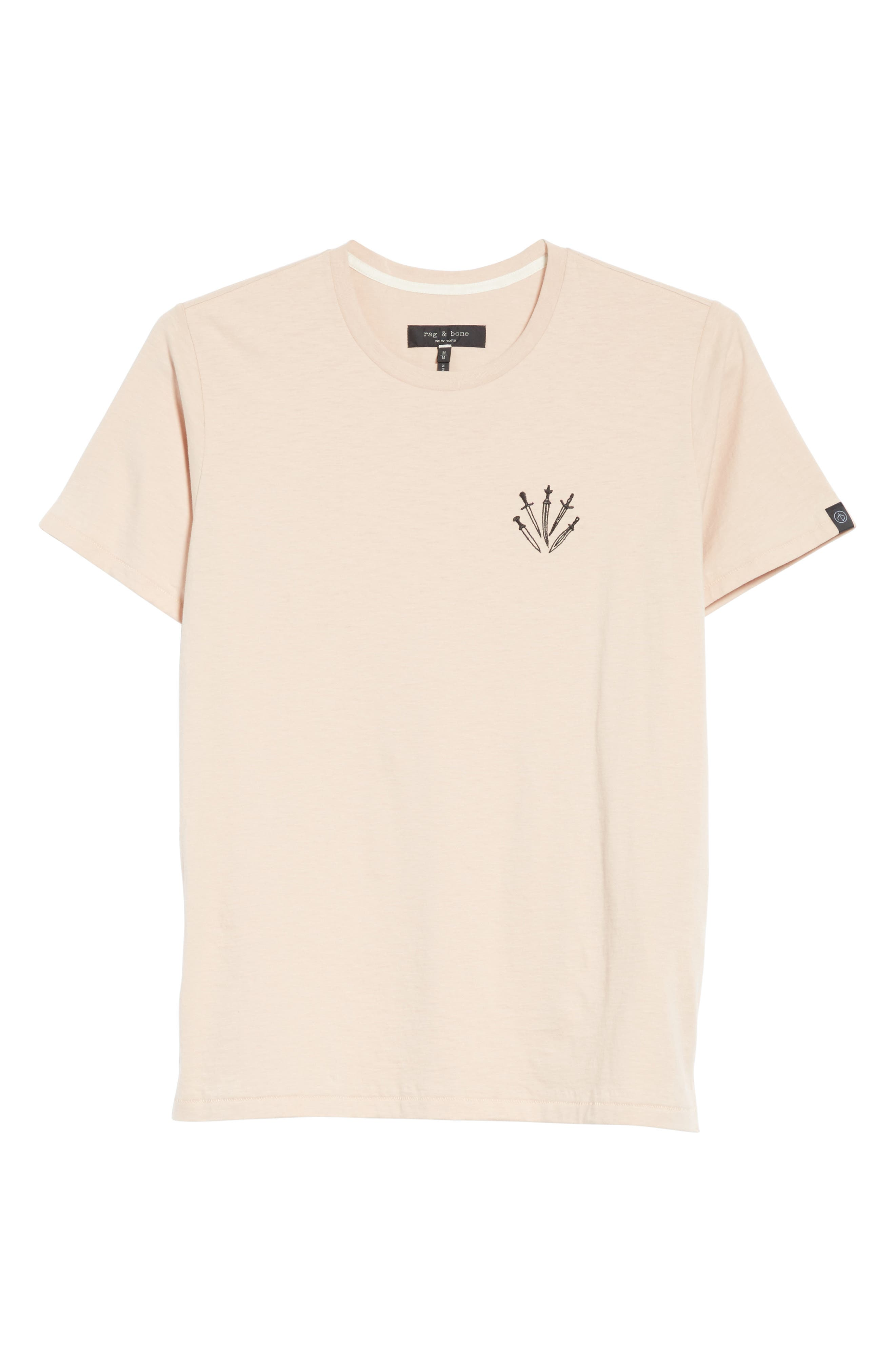 Dagger Embroidered T-Shirt,                             Alternate thumbnail 6, color,                             Pink
