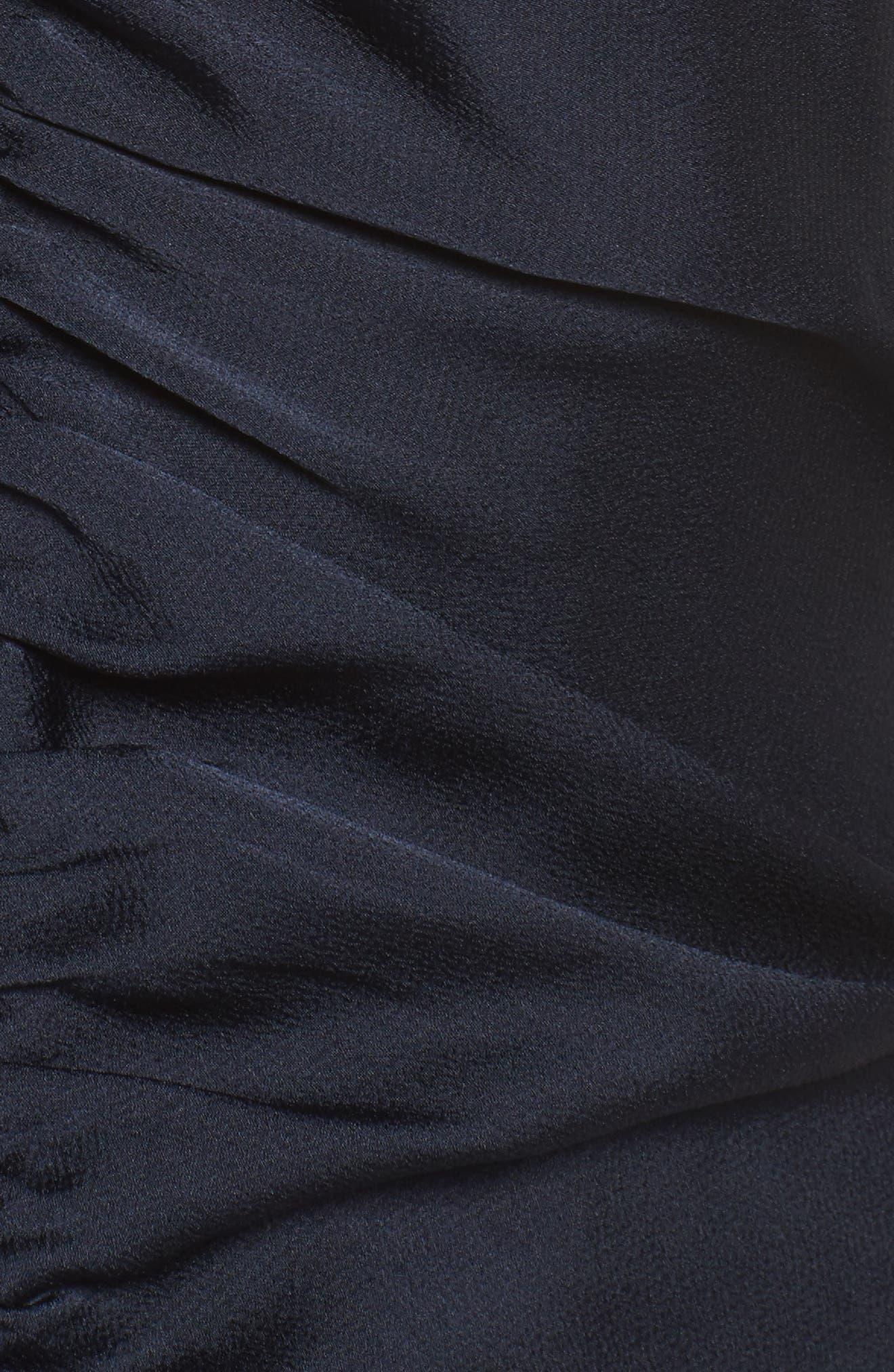 Dark Paradise Strappy Back Ruched Midi Dress,                             Alternate thumbnail 6, color,                             Navy