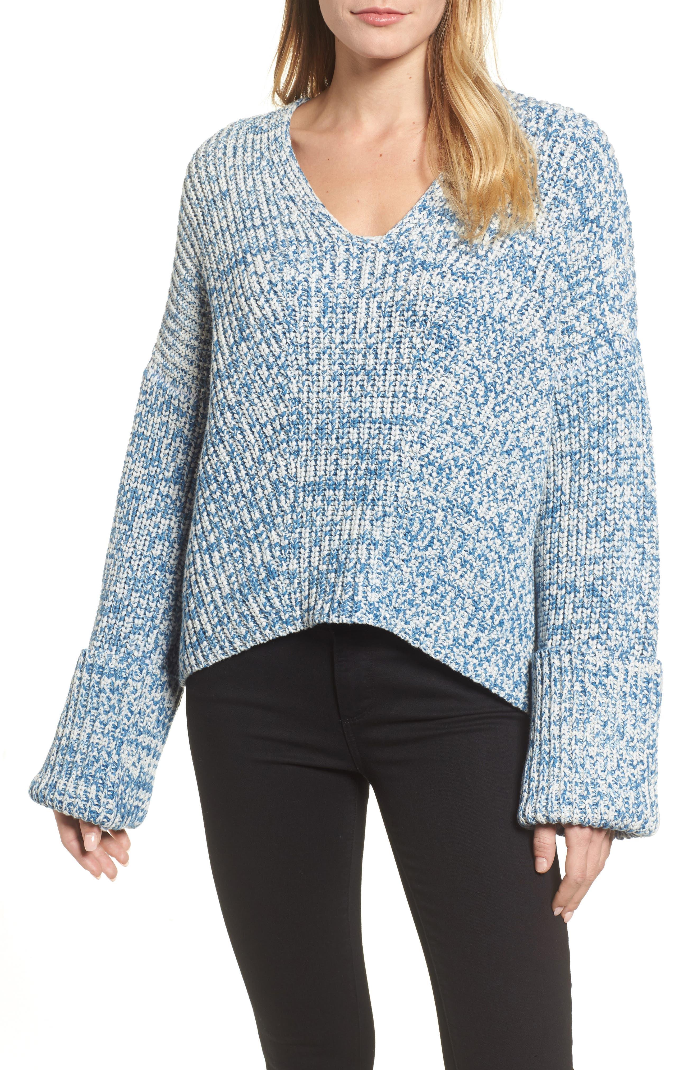 Knit V-Neck Sweater,                         Main,                         color, Denim Marl