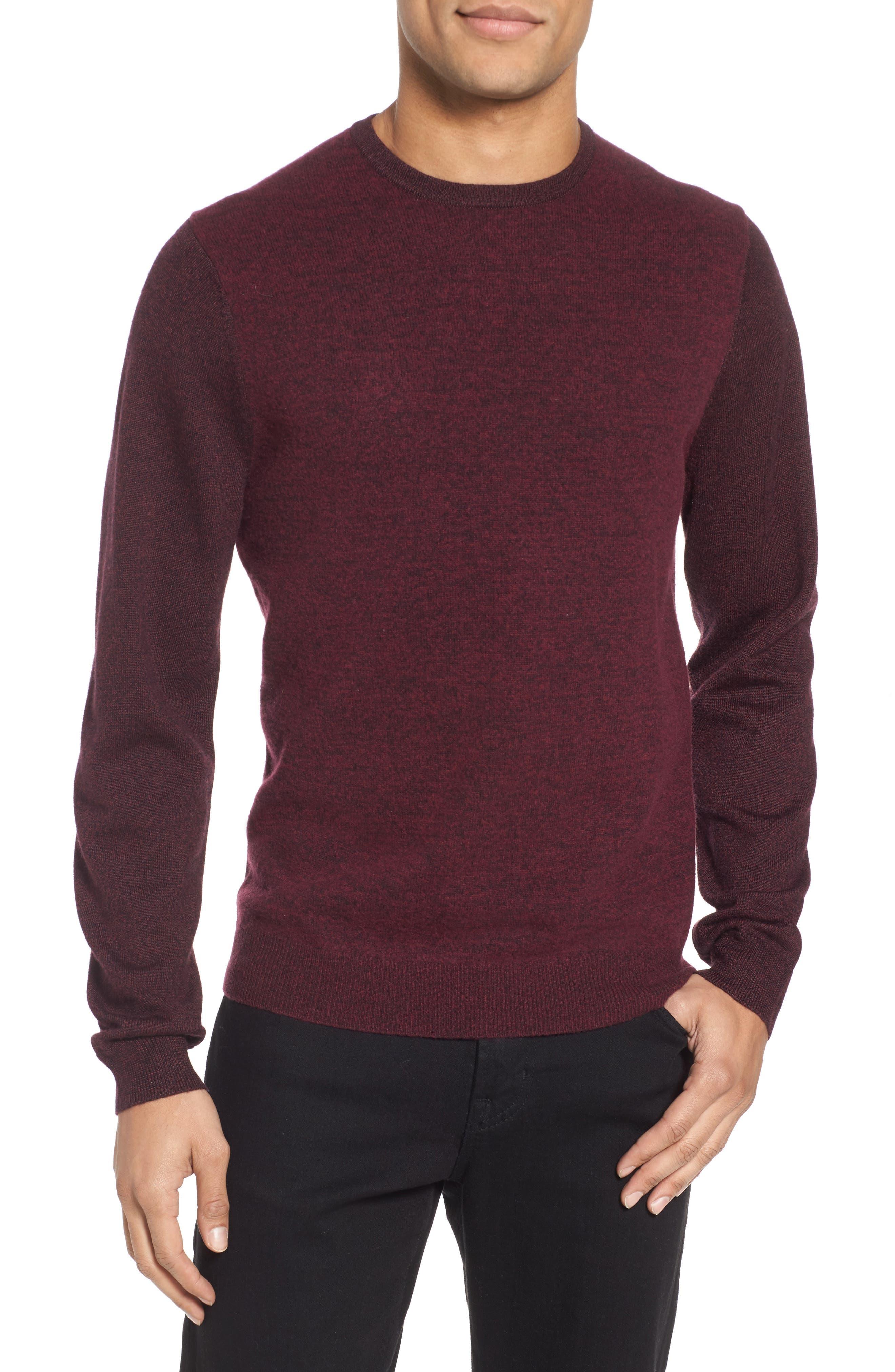 Boiled Wool Blend Crewneck Sweater,                         Main,                         color, Burgundy Stem
