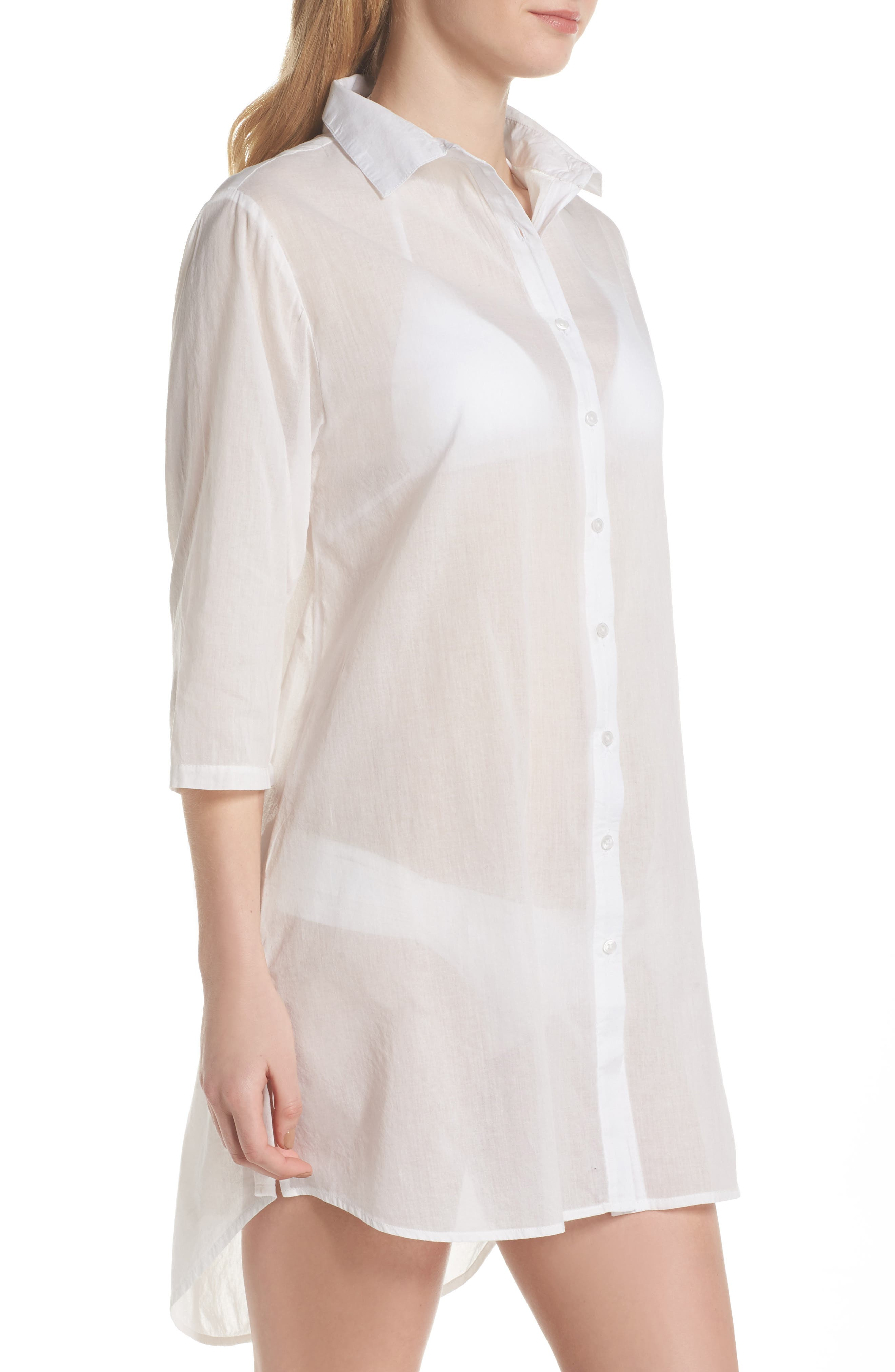 Solid Cover-Up Dress,                             Alternate thumbnail 3, color,                             White