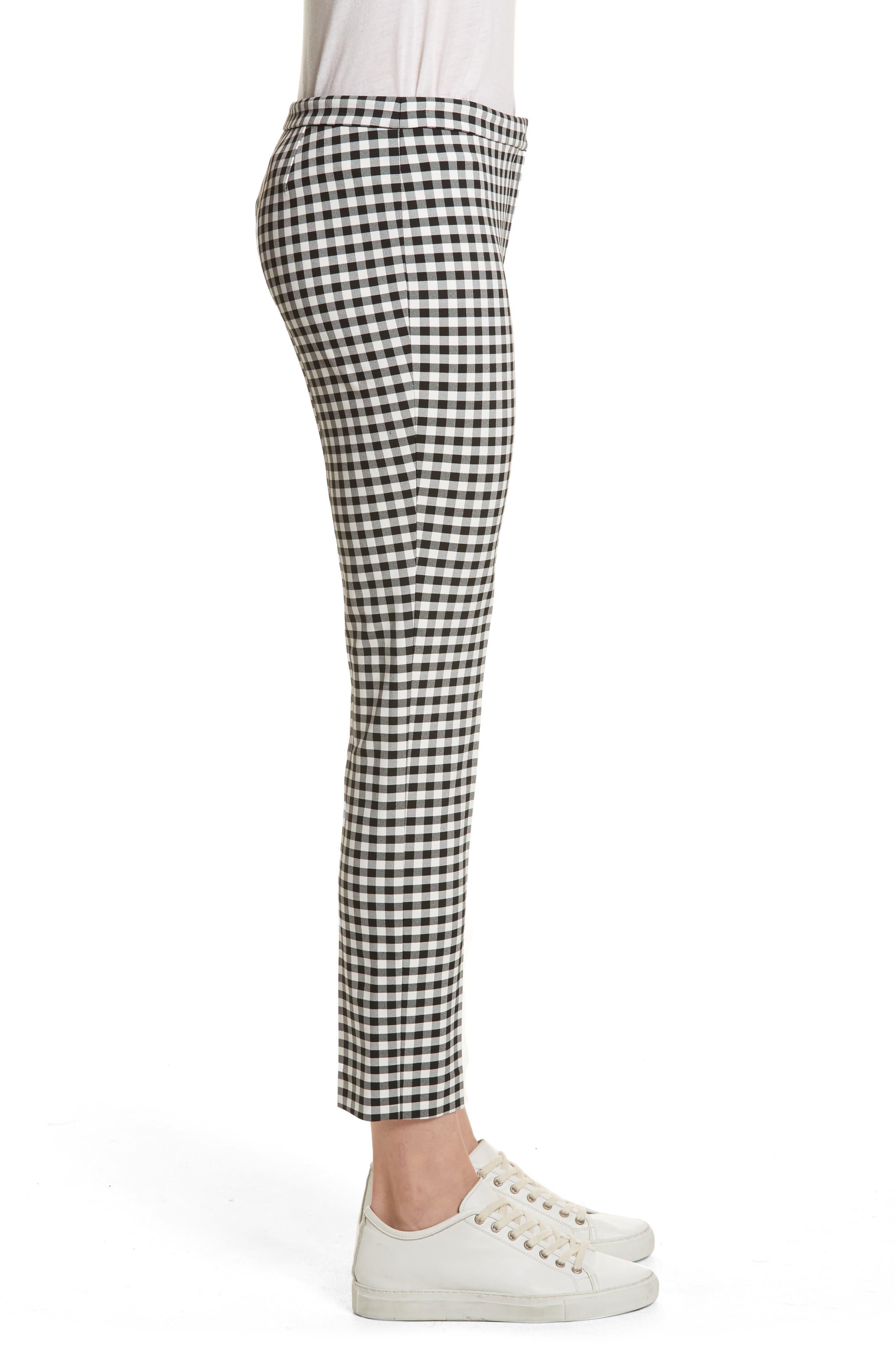 Gingham Classic Skinny Pants,                             Alternate thumbnail 3, color,                             Black/ White