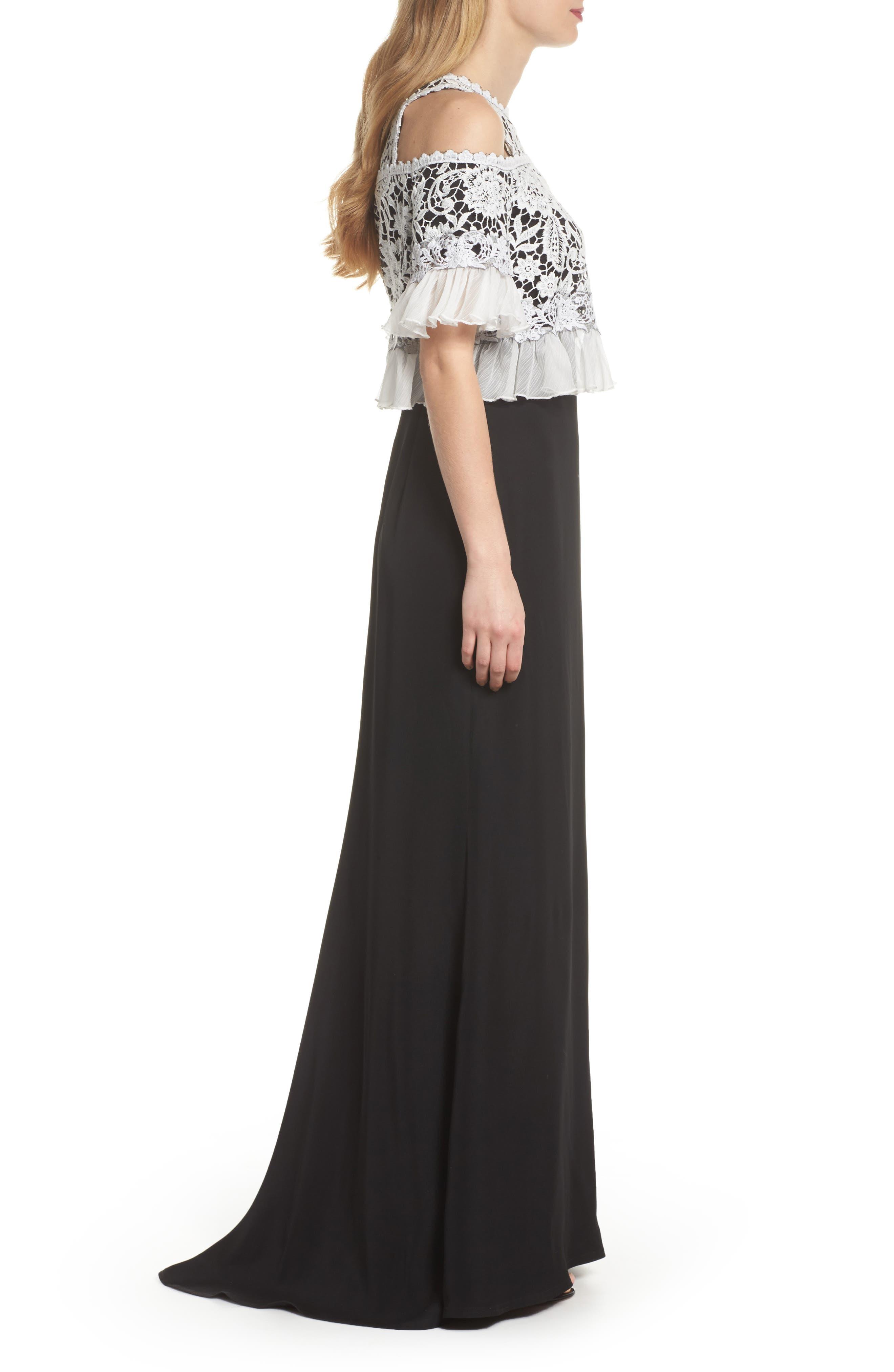 Crochet Bodice Gown,                             Alternate thumbnail 3, color,                             Black/ Ivory