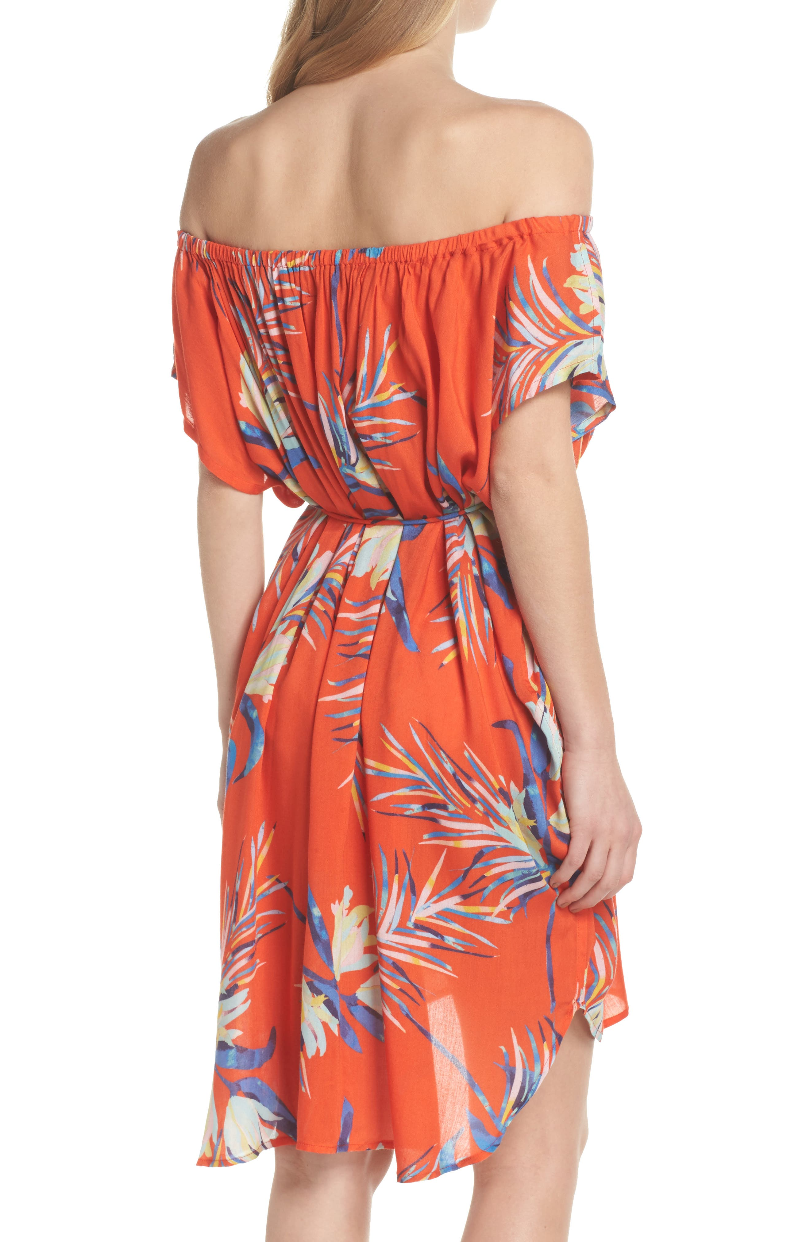 Paradise Palm Off the Shoulder Cover-Up Dress,                             Alternate thumbnail 2, color,                             Tangerine
