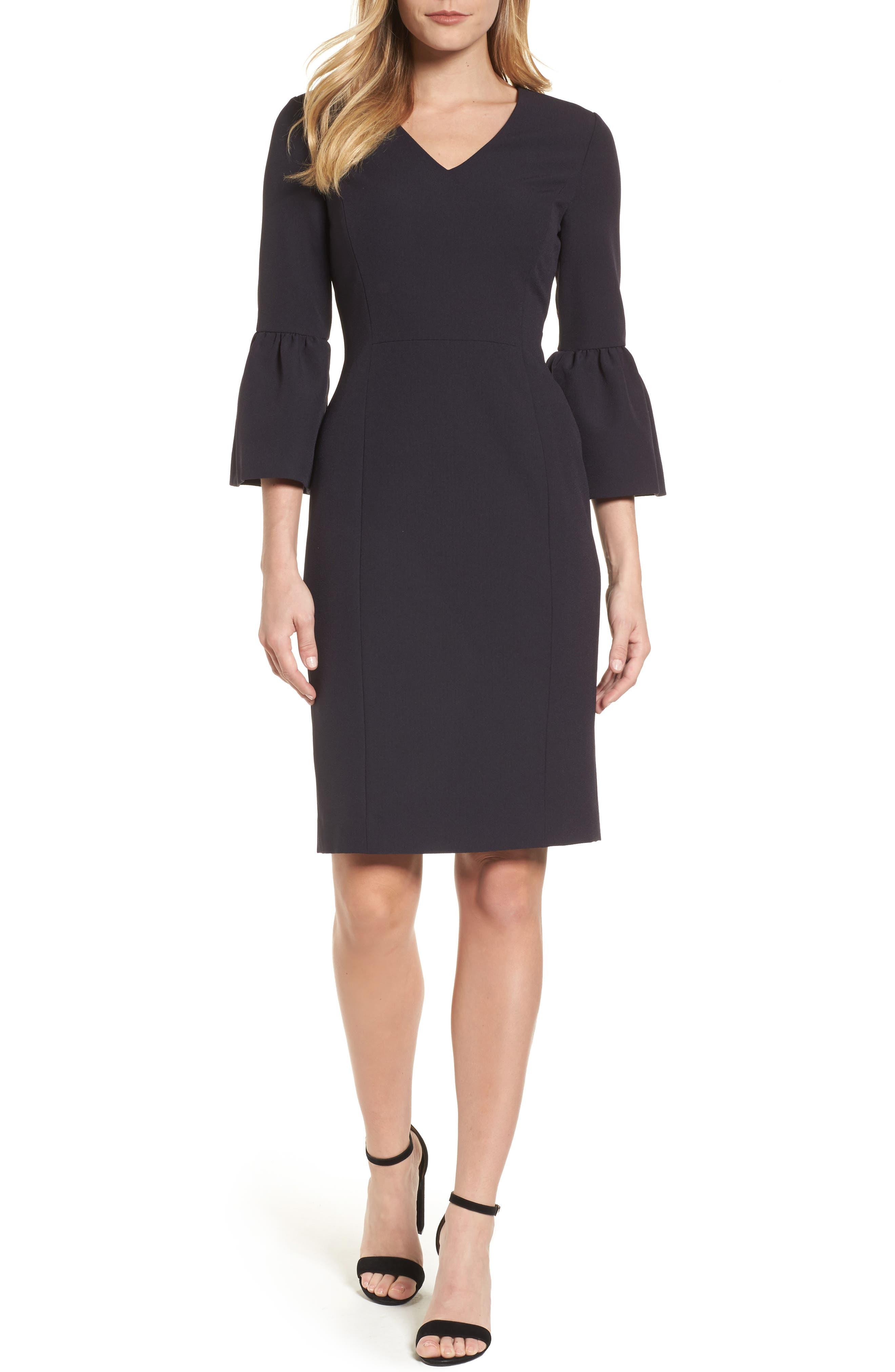 Bell Sleeve Sheath Dress,                         Main,                         color, Black Caviar