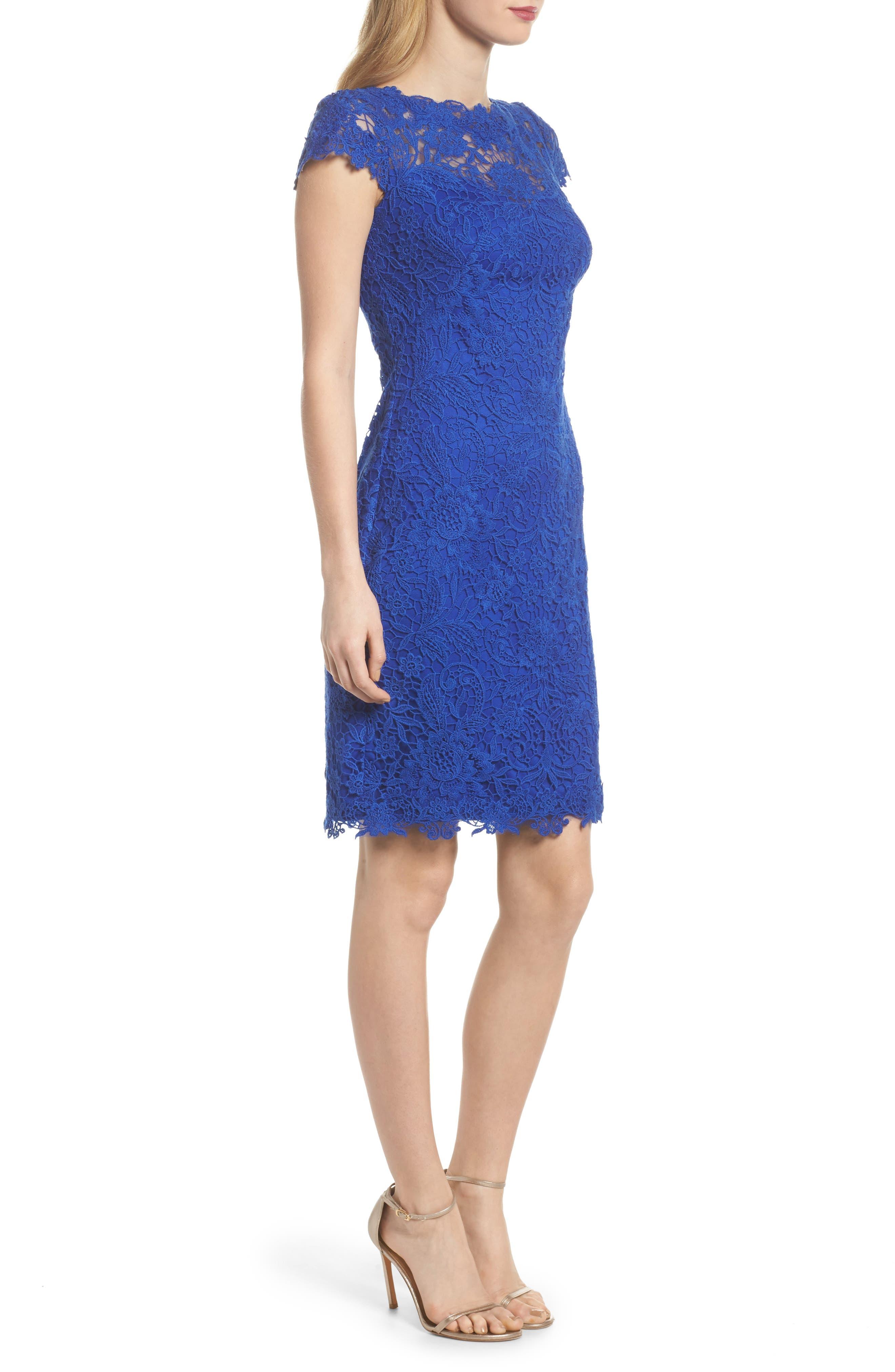 Crochet Sheath Dress,                             Alternate thumbnail 3, color,                             Horizon Blue