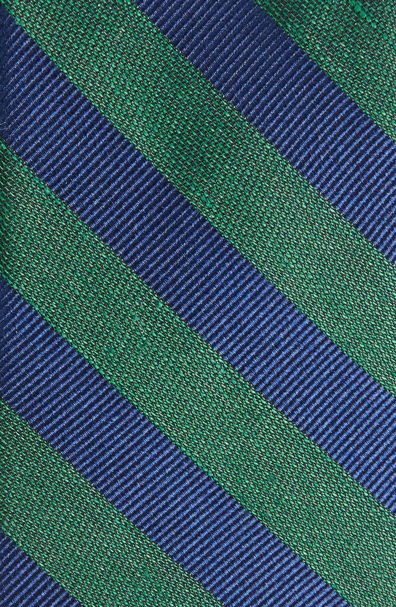 Lumber Stripe Silk & Linen Tie,                             Alternate thumbnail 2, color,                             Hunter Green