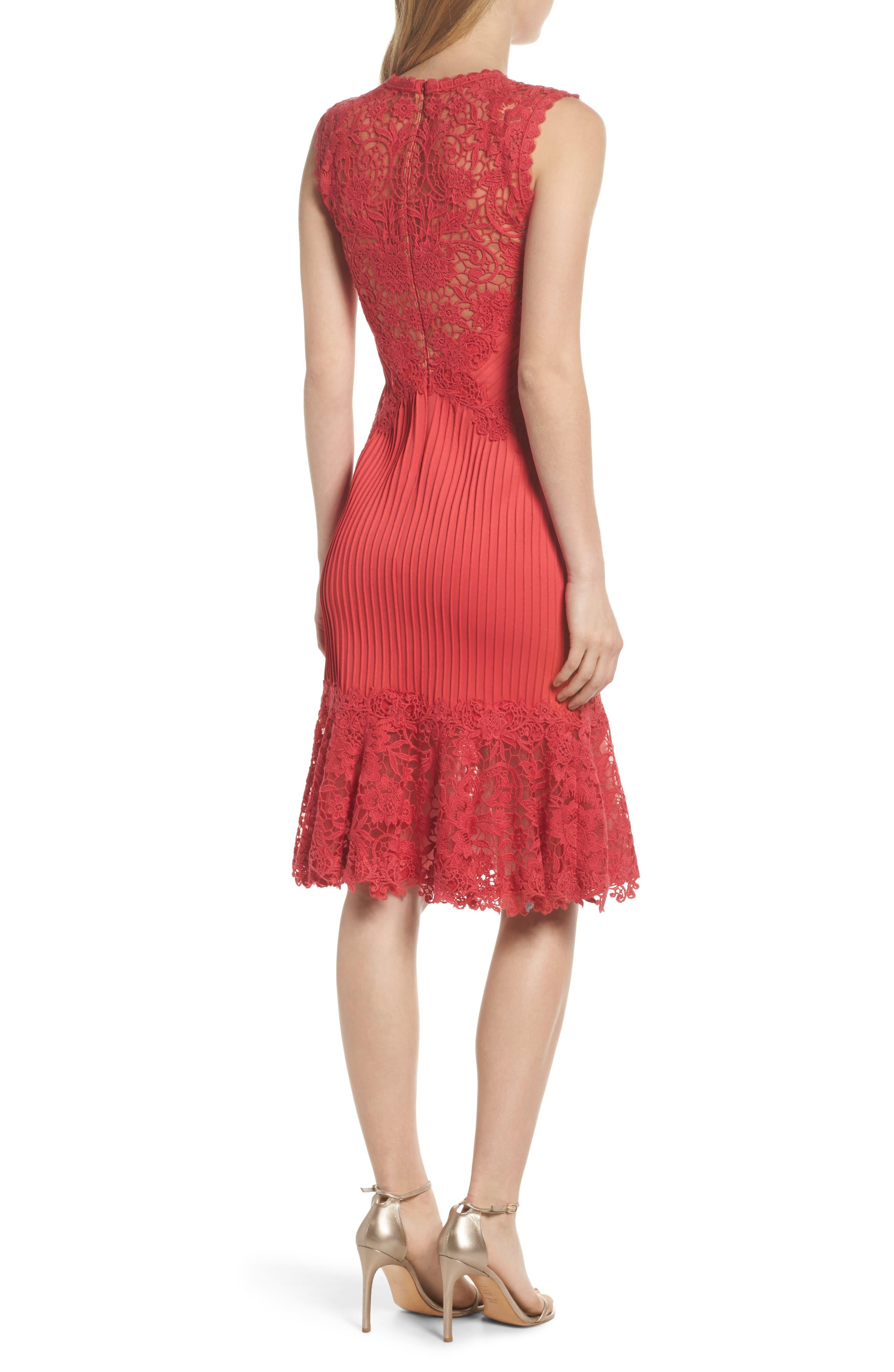 Crochet Trim Pintucked Sheath Dress,                             Alternate thumbnail 2, color,                             Pop Red
