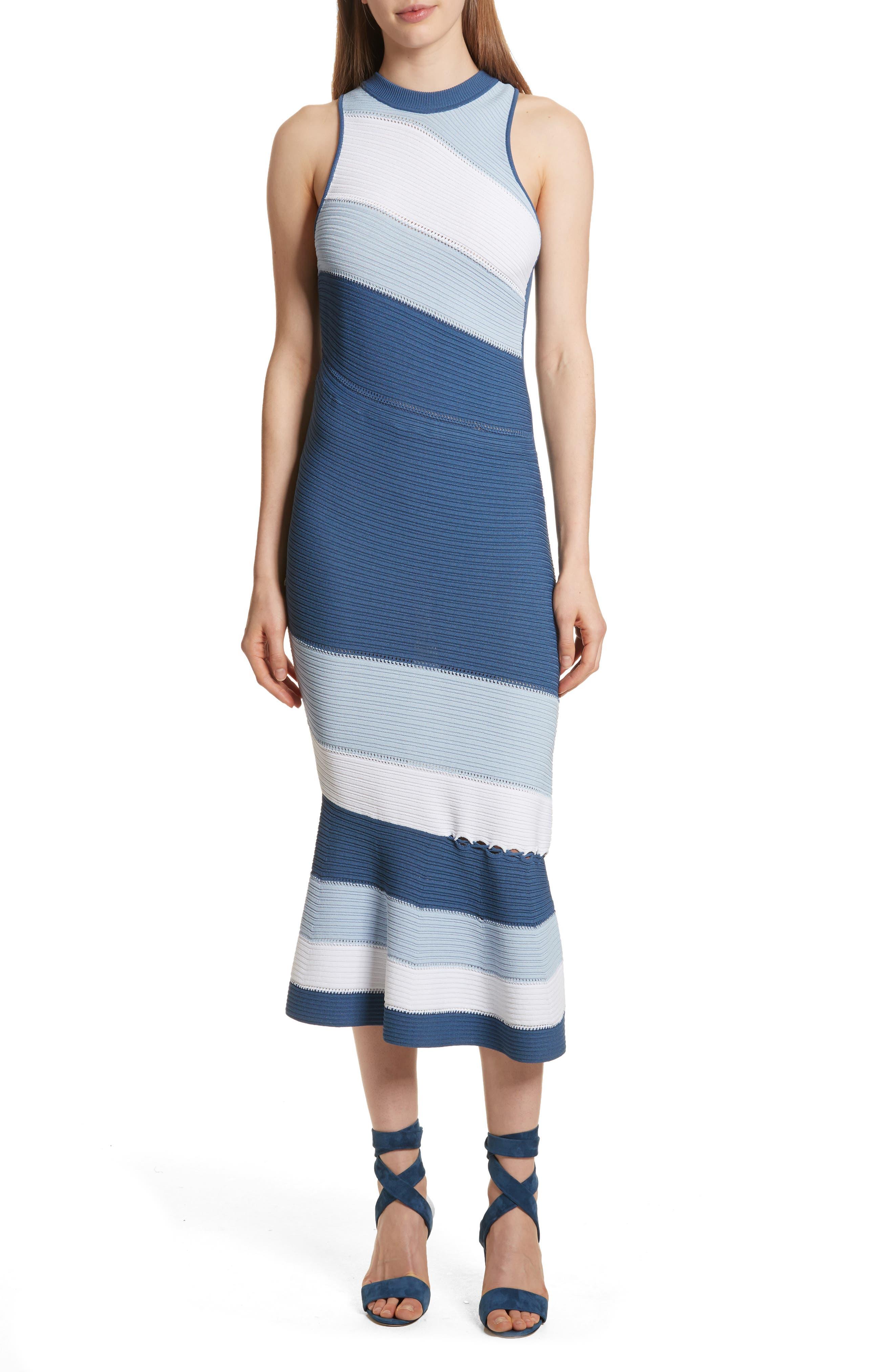Linked Asymmetrical Dress,                         Main,                         color, Blue Combo