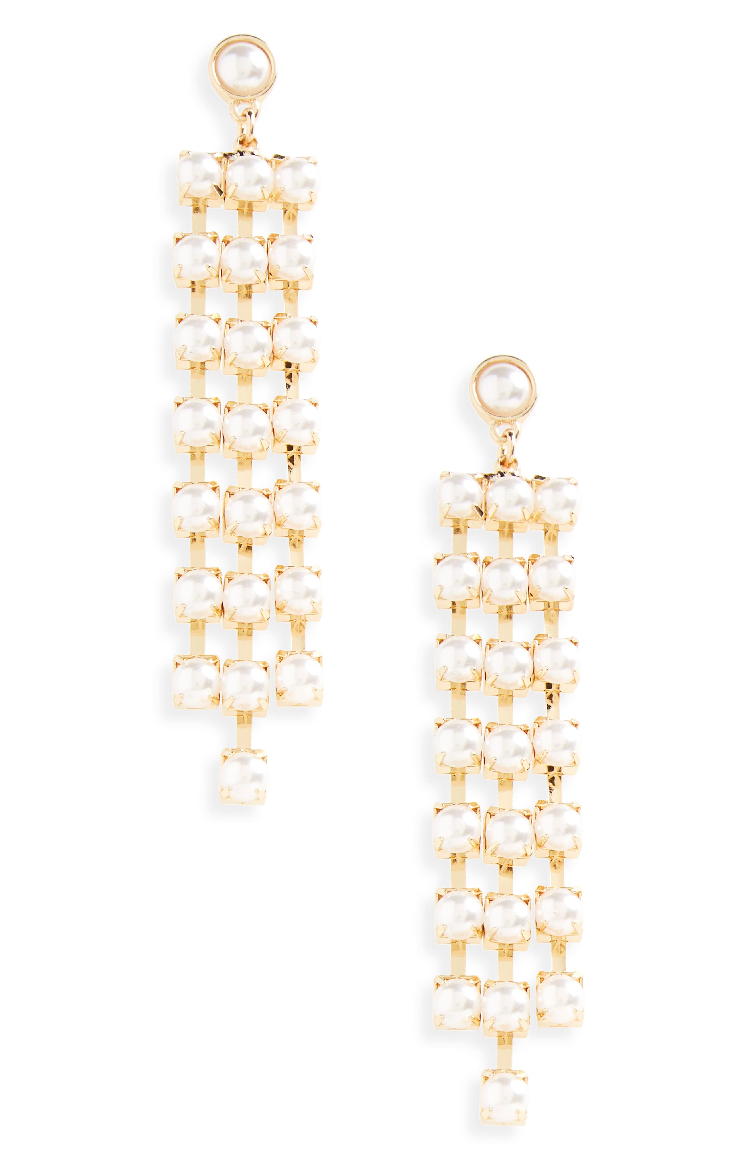 Imitation Pearl Chandelier Earrings,                             Main thumbnail 1, color,                             Gold/ Pearl
