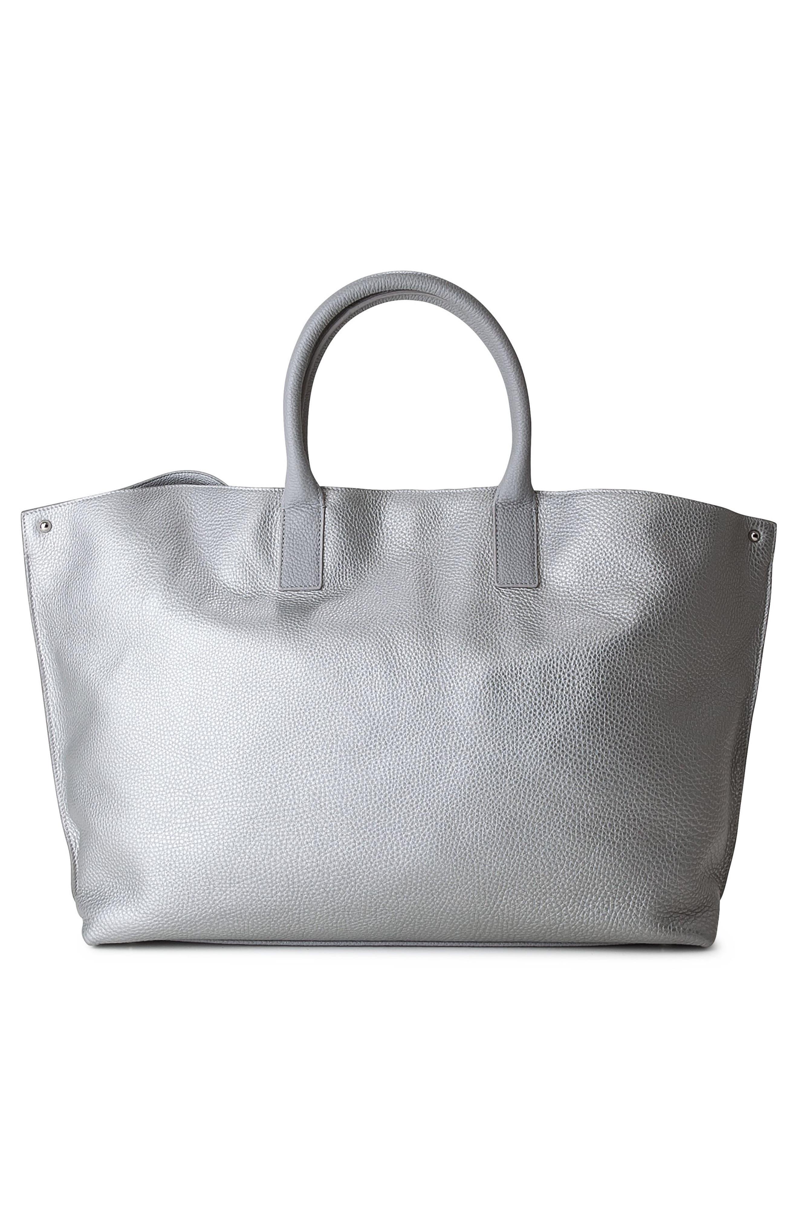 'AI Medium Messenger' Tricolor Leather Tote,                             Alternate thumbnail 4, color,                             Marmo/ White/ Light Silver
