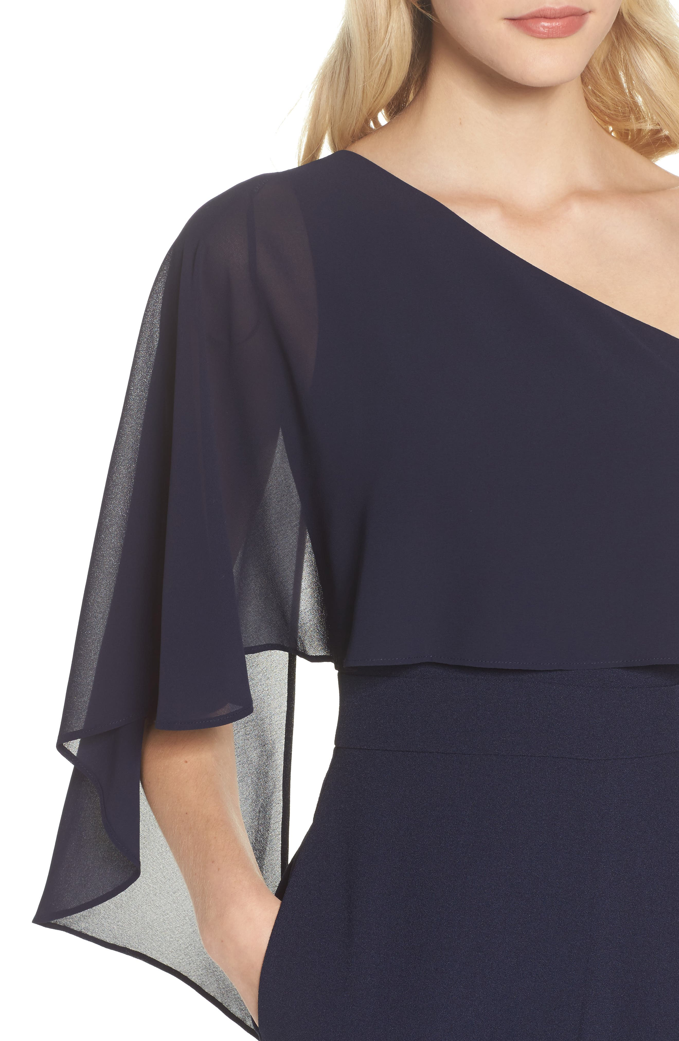Cape Overlay One-Shoulder Jumpsuit,                             Alternate thumbnail 4, color,                             Navy