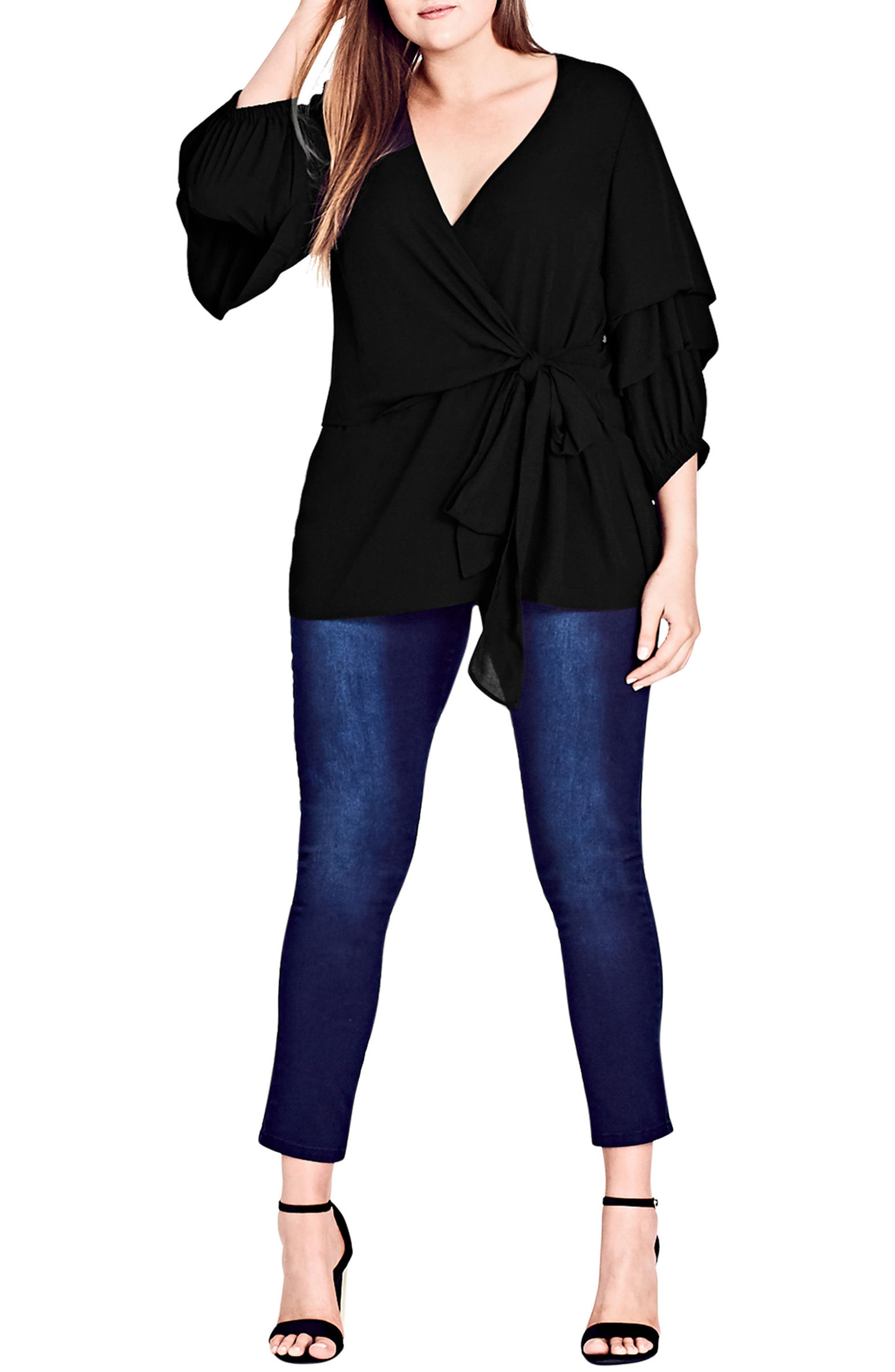 Alternate Image 3  - City Chic Desire Faux Wrap Shirt (Plus Size)