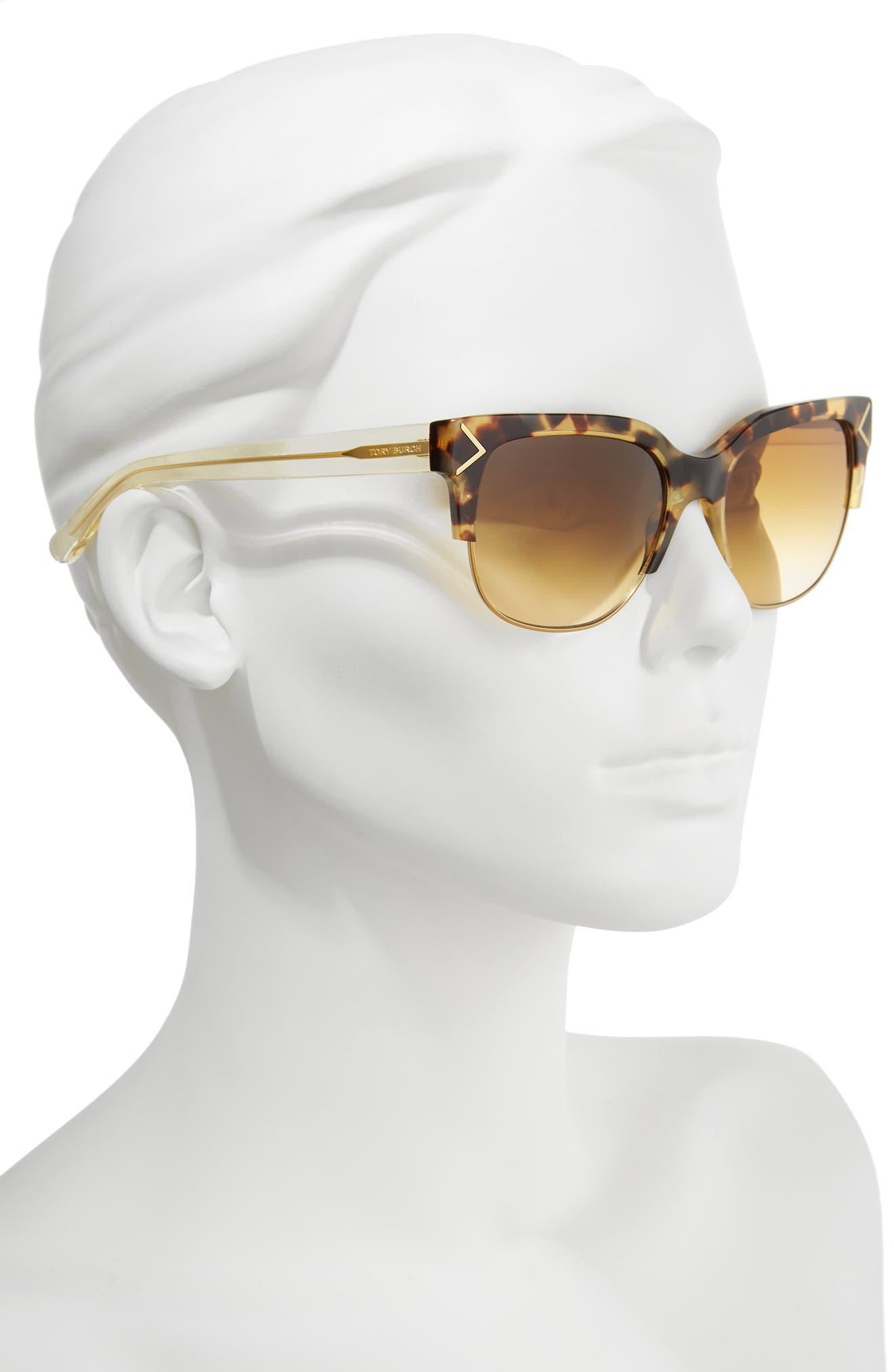 55mm Gradient Square Sunglasses,                             Alternate thumbnail 2, color,                             Gold/ Brown