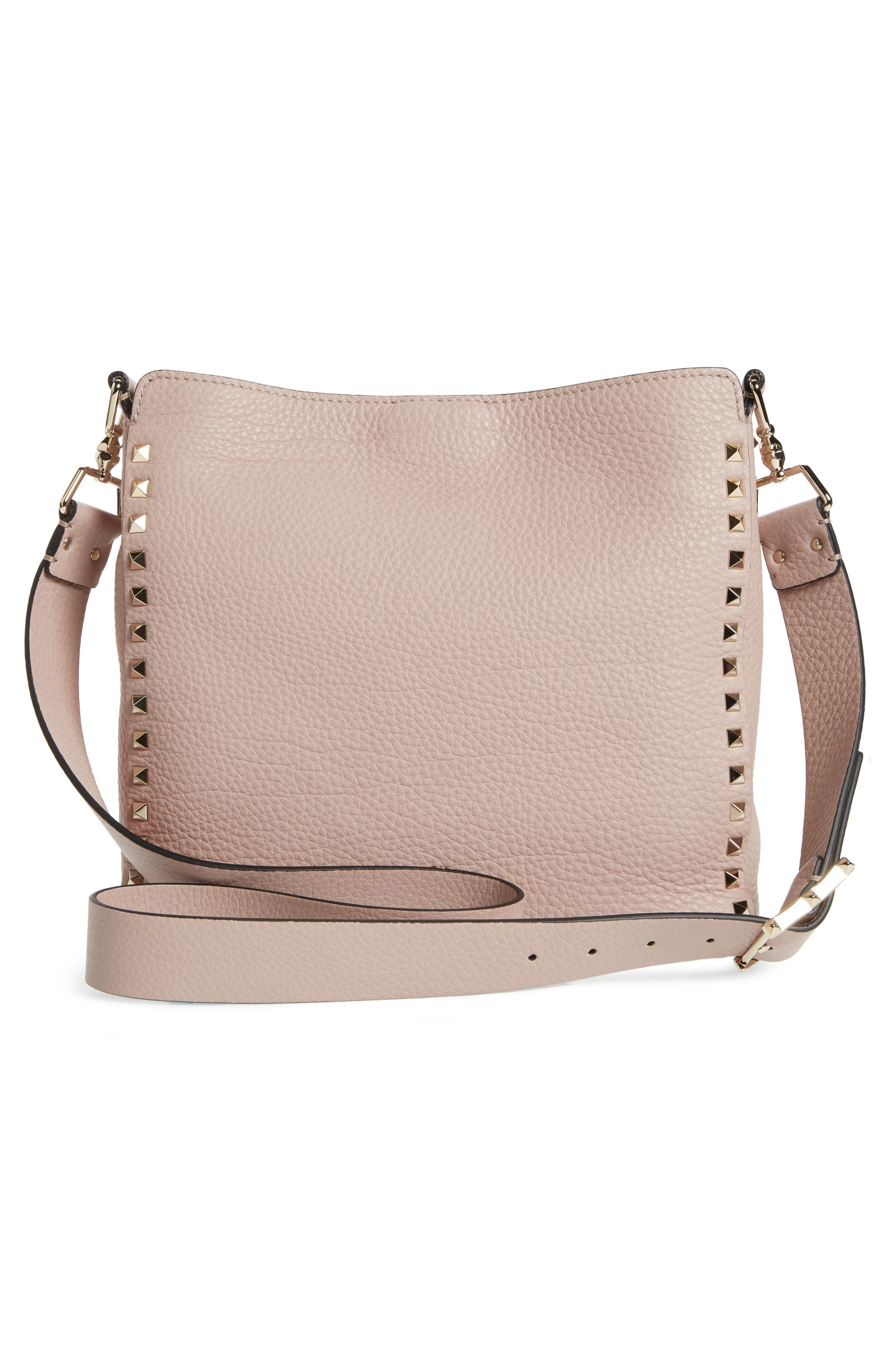 Small Rockstud Leather Hobo,                             Alternate thumbnail 3, color,                             Poudre