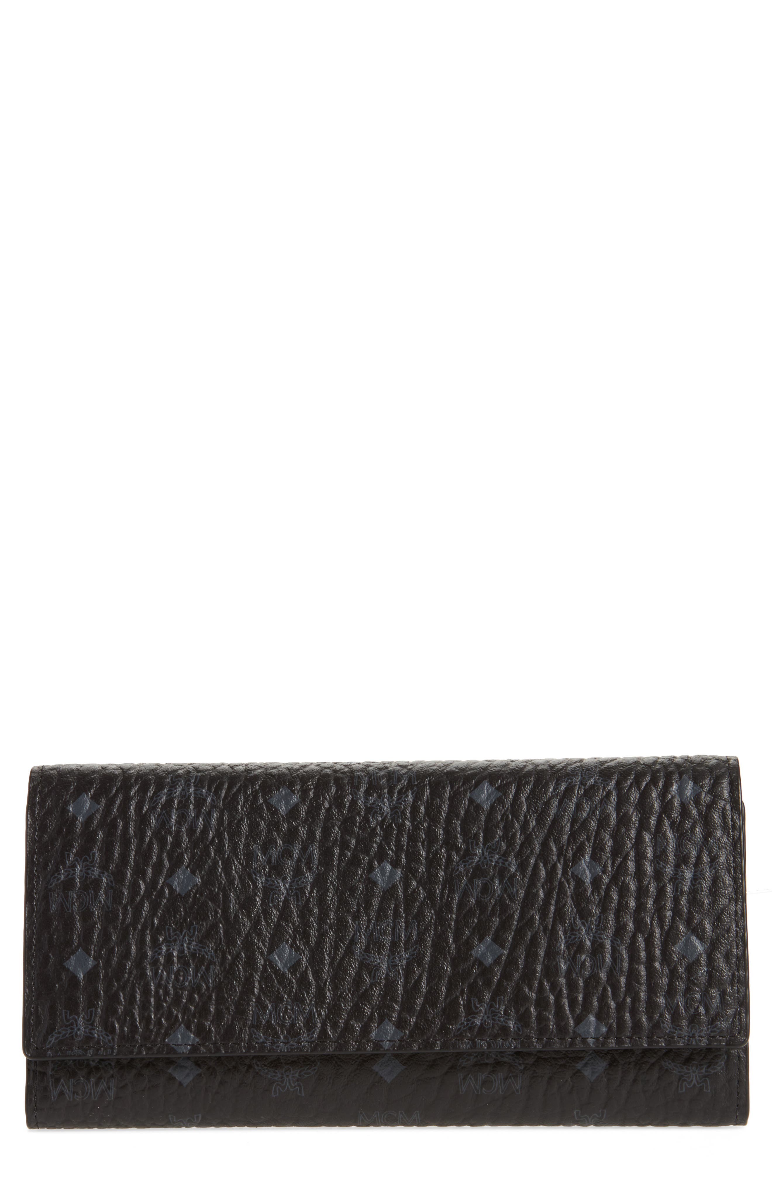 Original Visetos Coated Canvas Flap Wallet,                         Main,                         color, Black