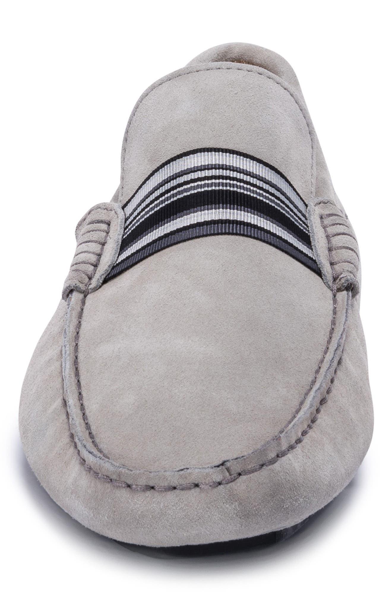 St. Tropez Driving Shoe,                             Alternate thumbnail 4, color,                             Grey Suede