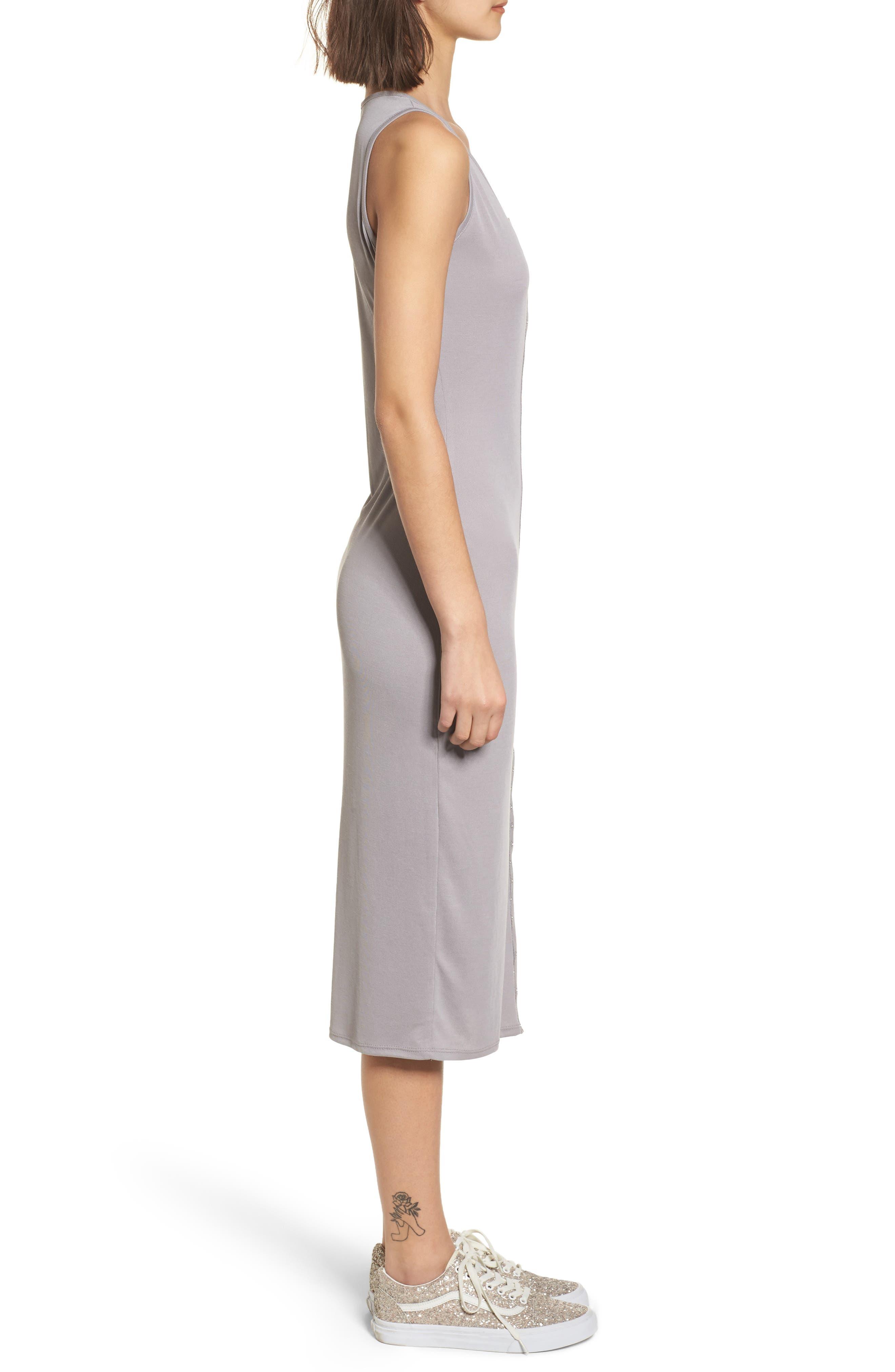 Snap Front Midi Dress,                             Alternate thumbnail 3, color,                             Grey Cloudburst