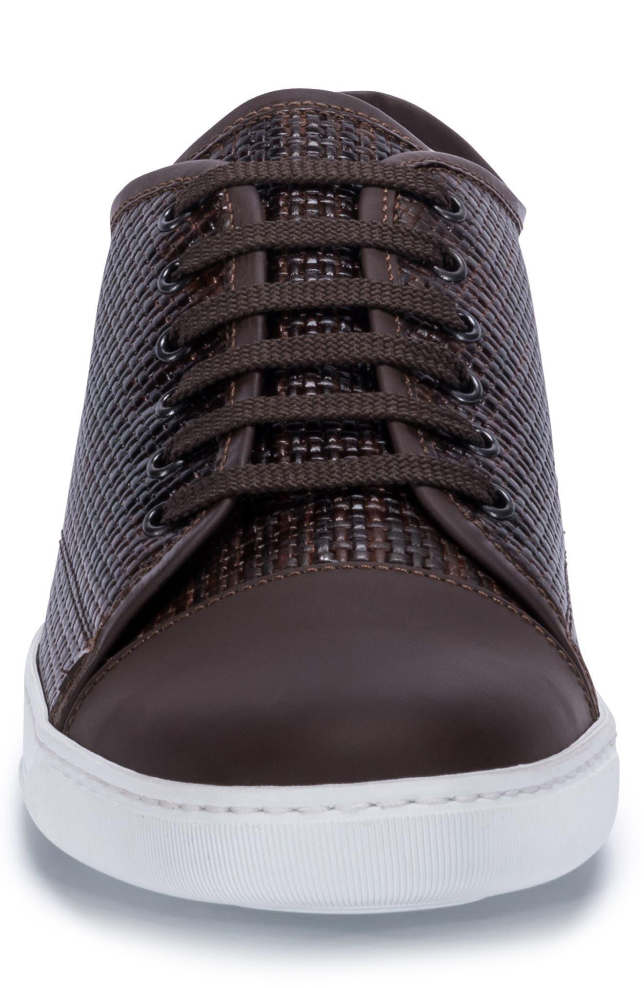 Cinque Terre Woven Cap Toe Sneaker,                             Alternate thumbnail 4, color,                             Brown Leather