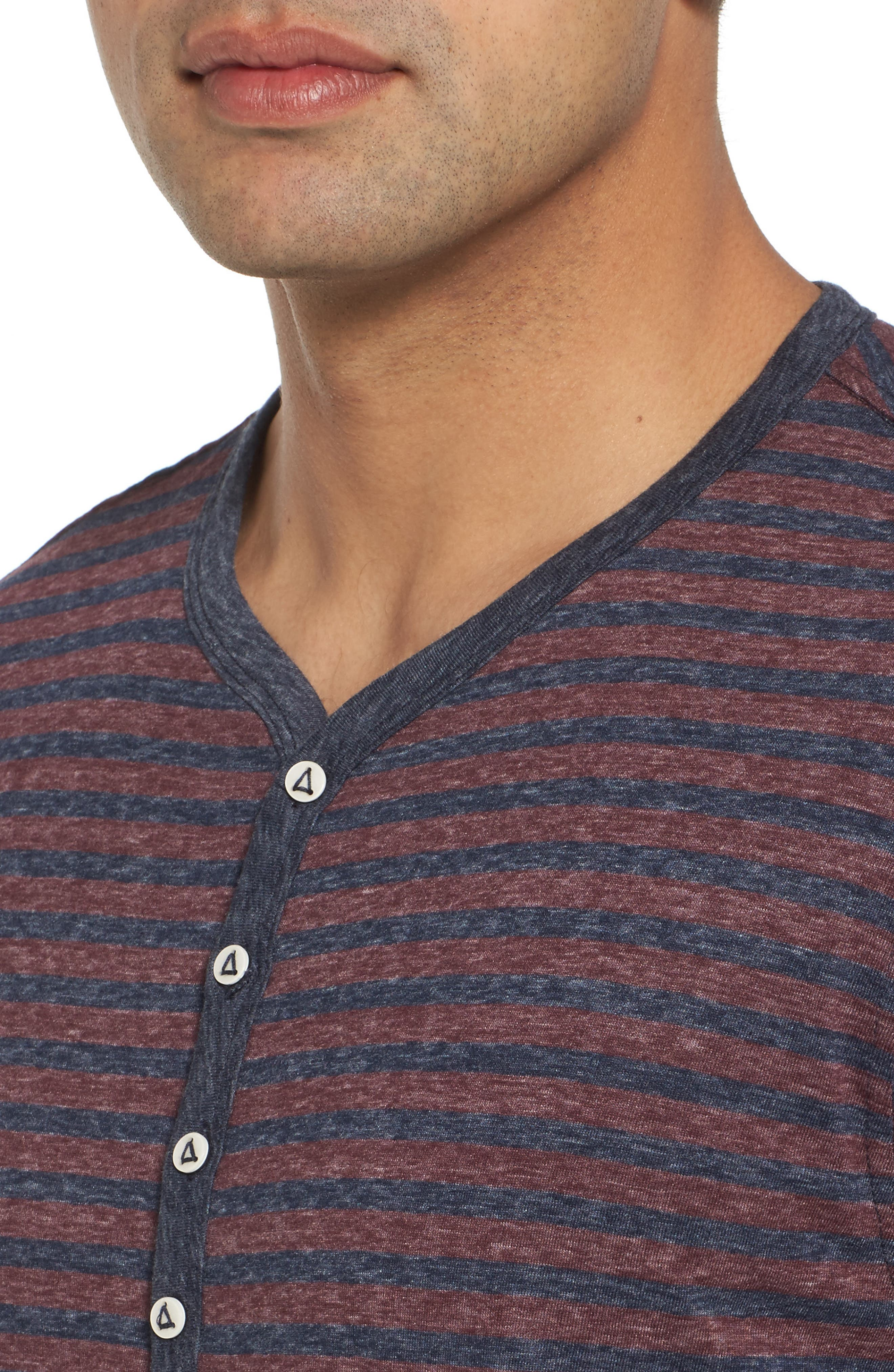 Short Sleeve Recycled Cotton Blend Henley,                             Alternate thumbnail 4, color,                             Blue/ Red