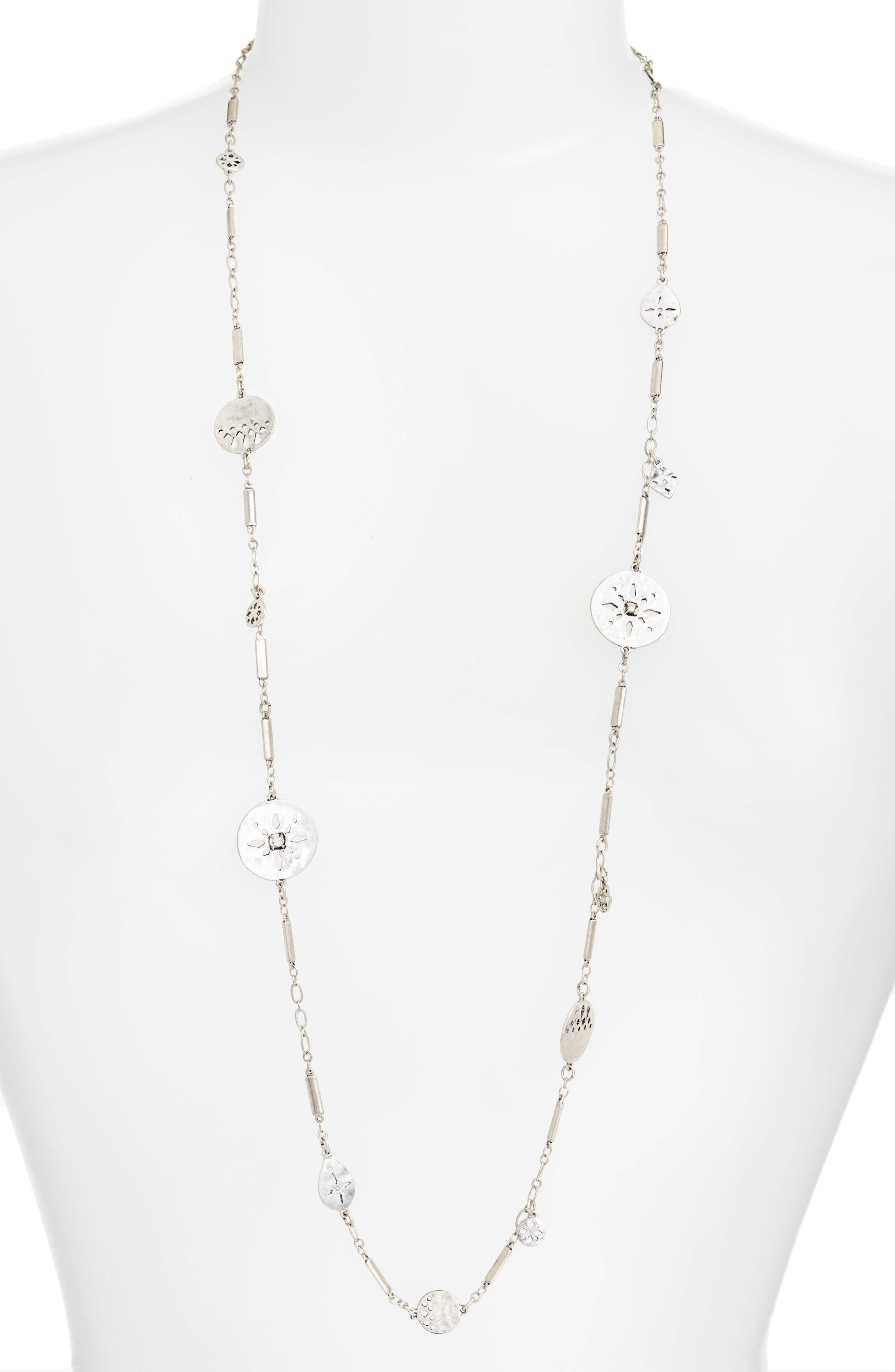 Disc Station Necklace,                         Main,                         color, Clear- Rhodium