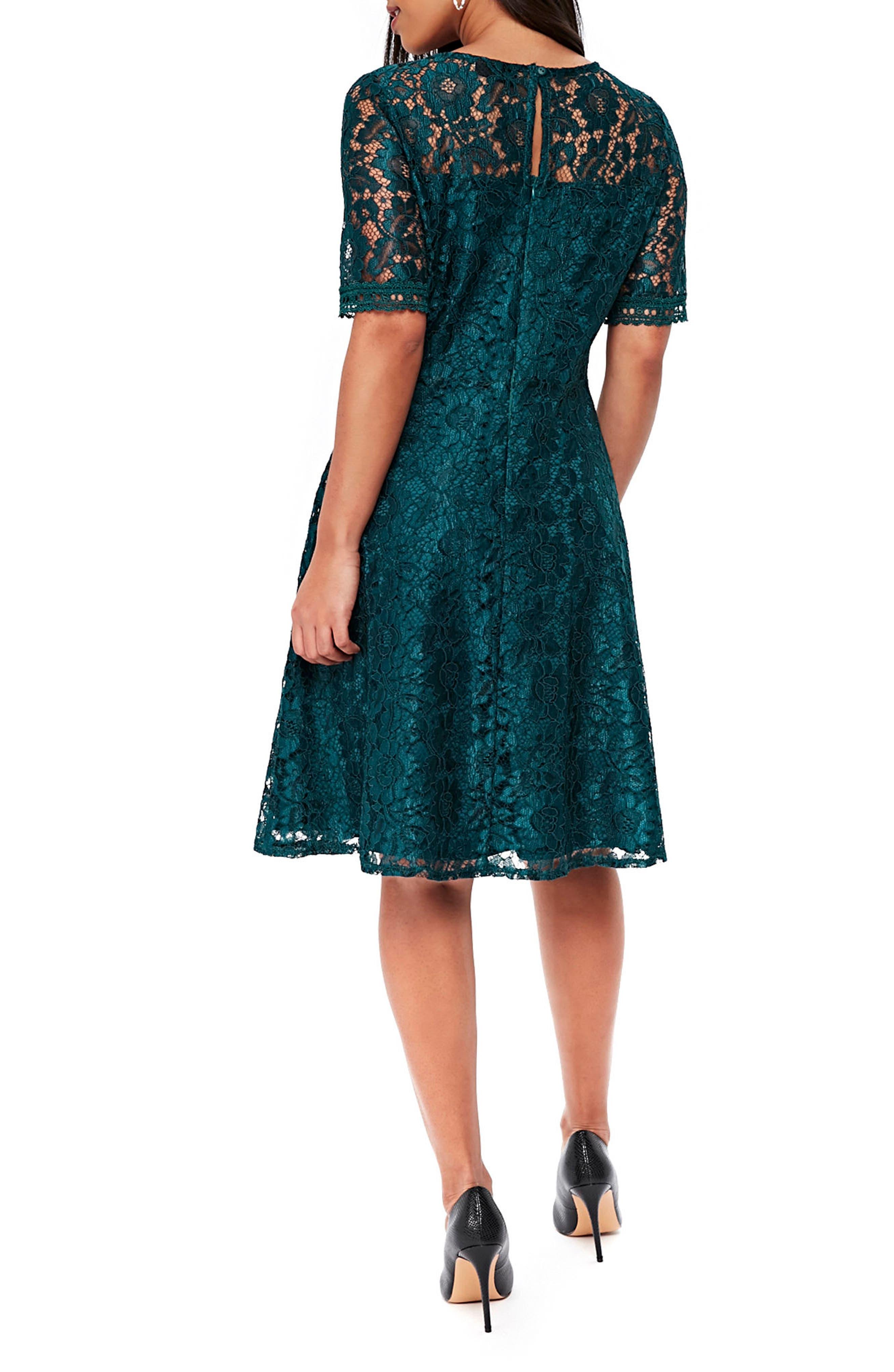 Lace & Lattice Fit & Flare Dress,                             Alternate thumbnail 2, color,                             Teal