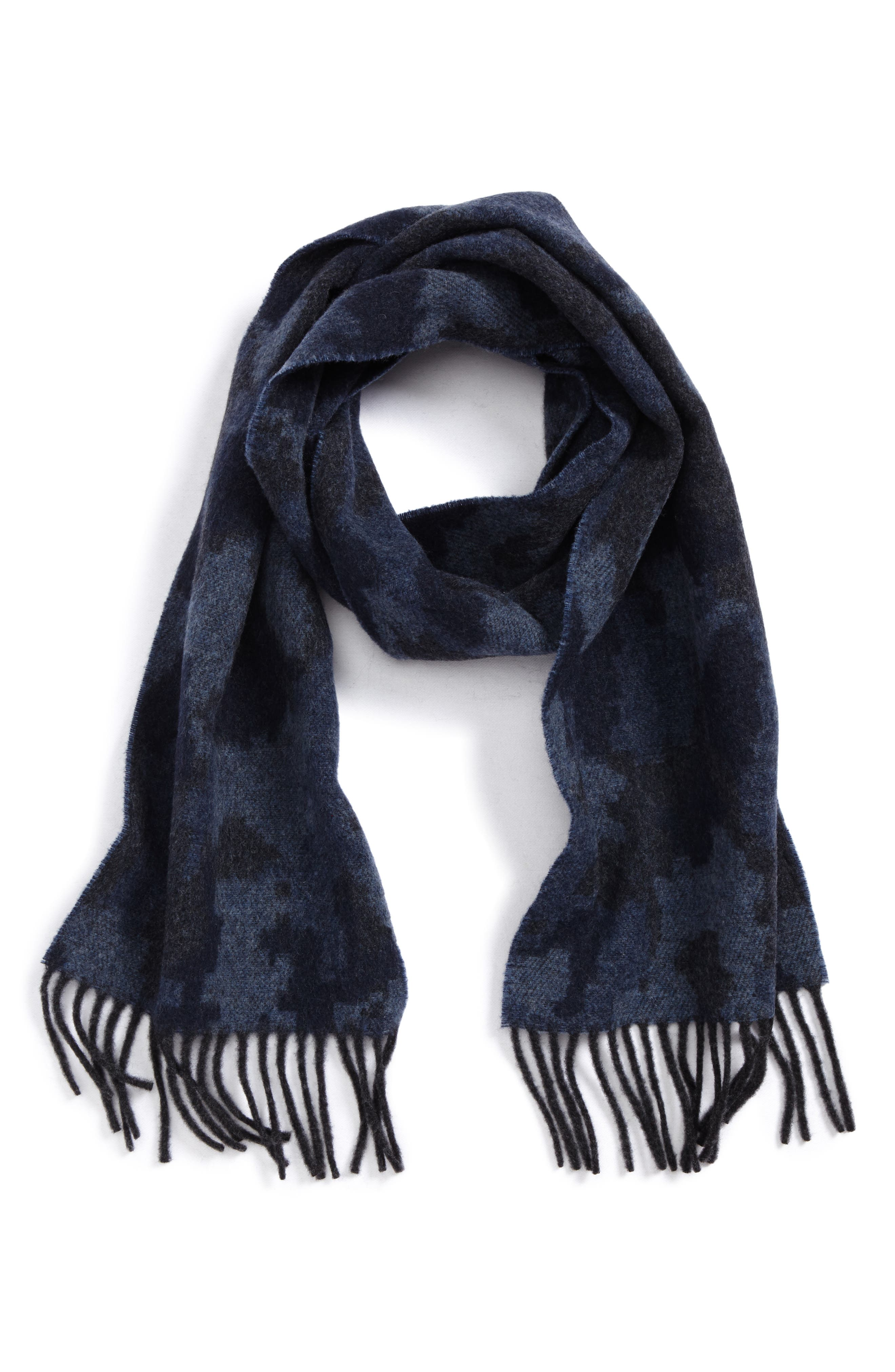Jacquard Camo Wool & Cashmere Scarf,                         Main,                         color, Navy