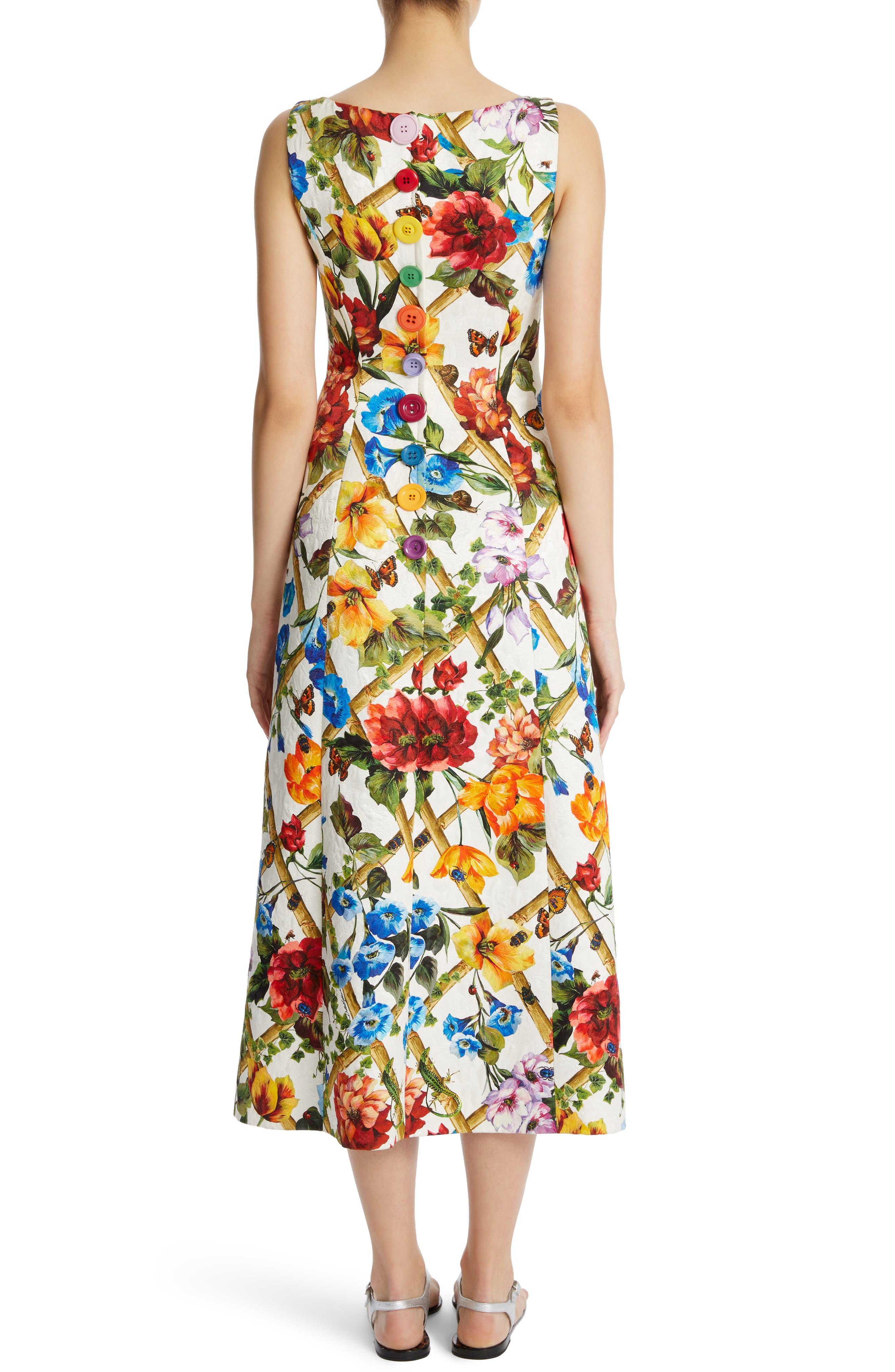 Slit Floral Brocade Dress,                             Alternate thumbnail 2, color,                             White