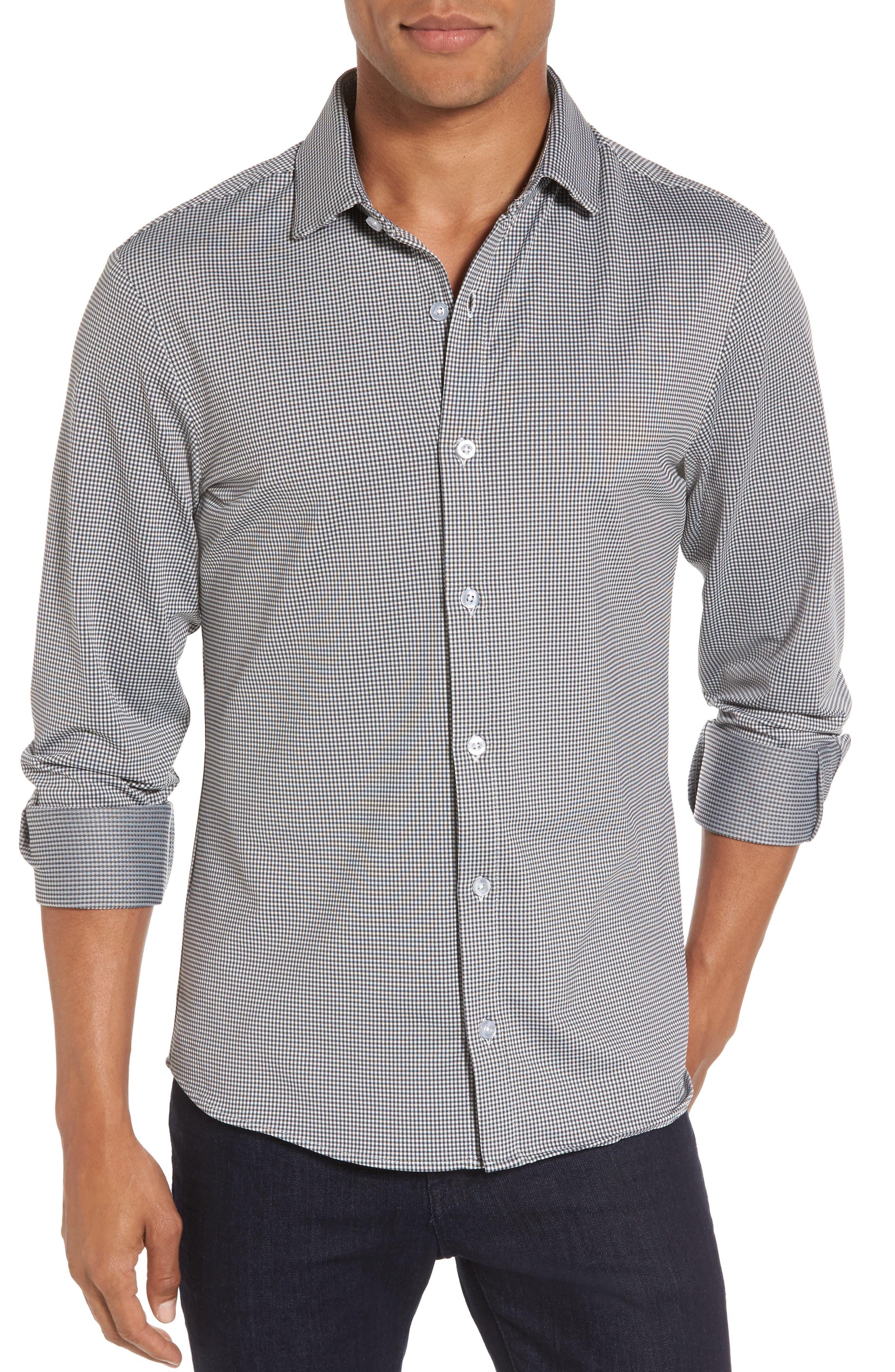 Davenport Gingham Sport Shirt,                         Main,                         color, Black Gingham